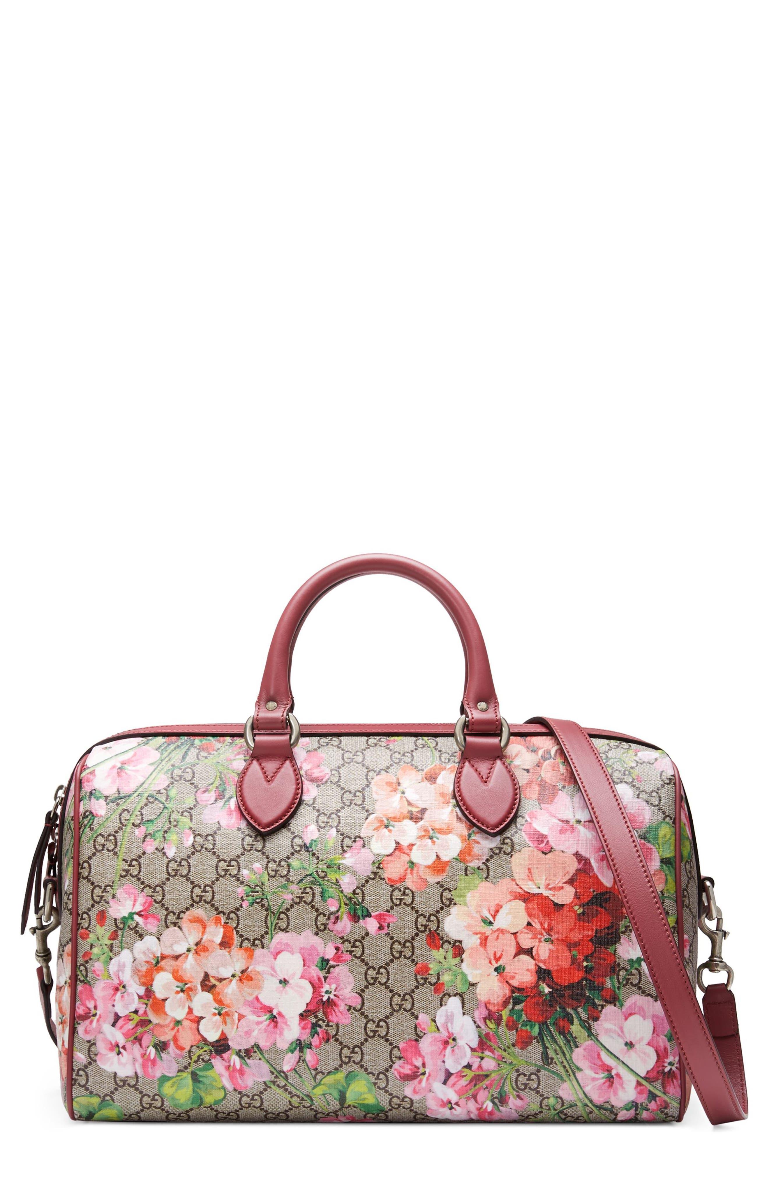 GUCCI Medium Blooms GG Supreme Top Handle Canvas Bag