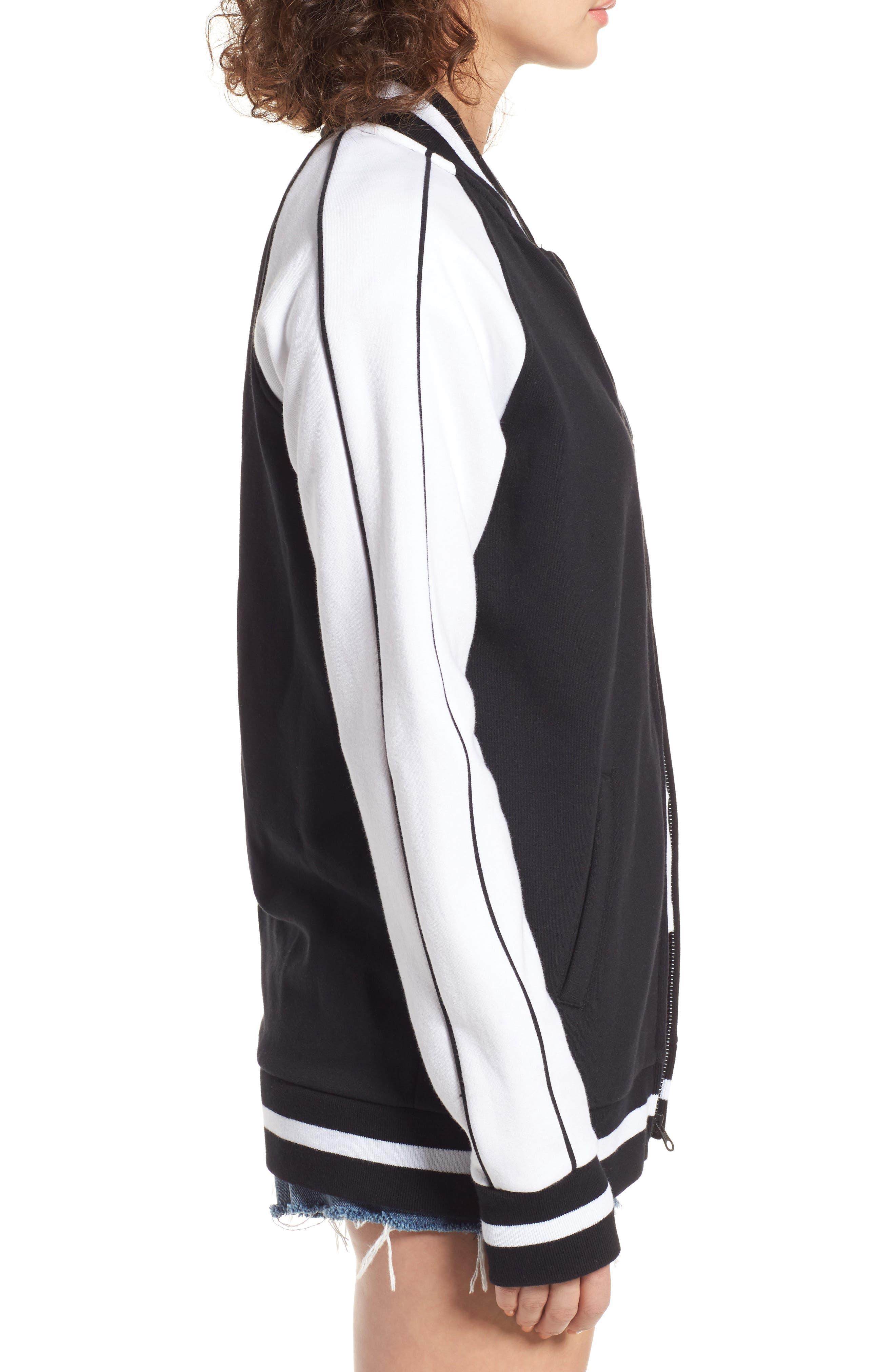 x KARL LAGERFELD Bomber Jacket,                             Alternate thumbnail 3, color,                             Black