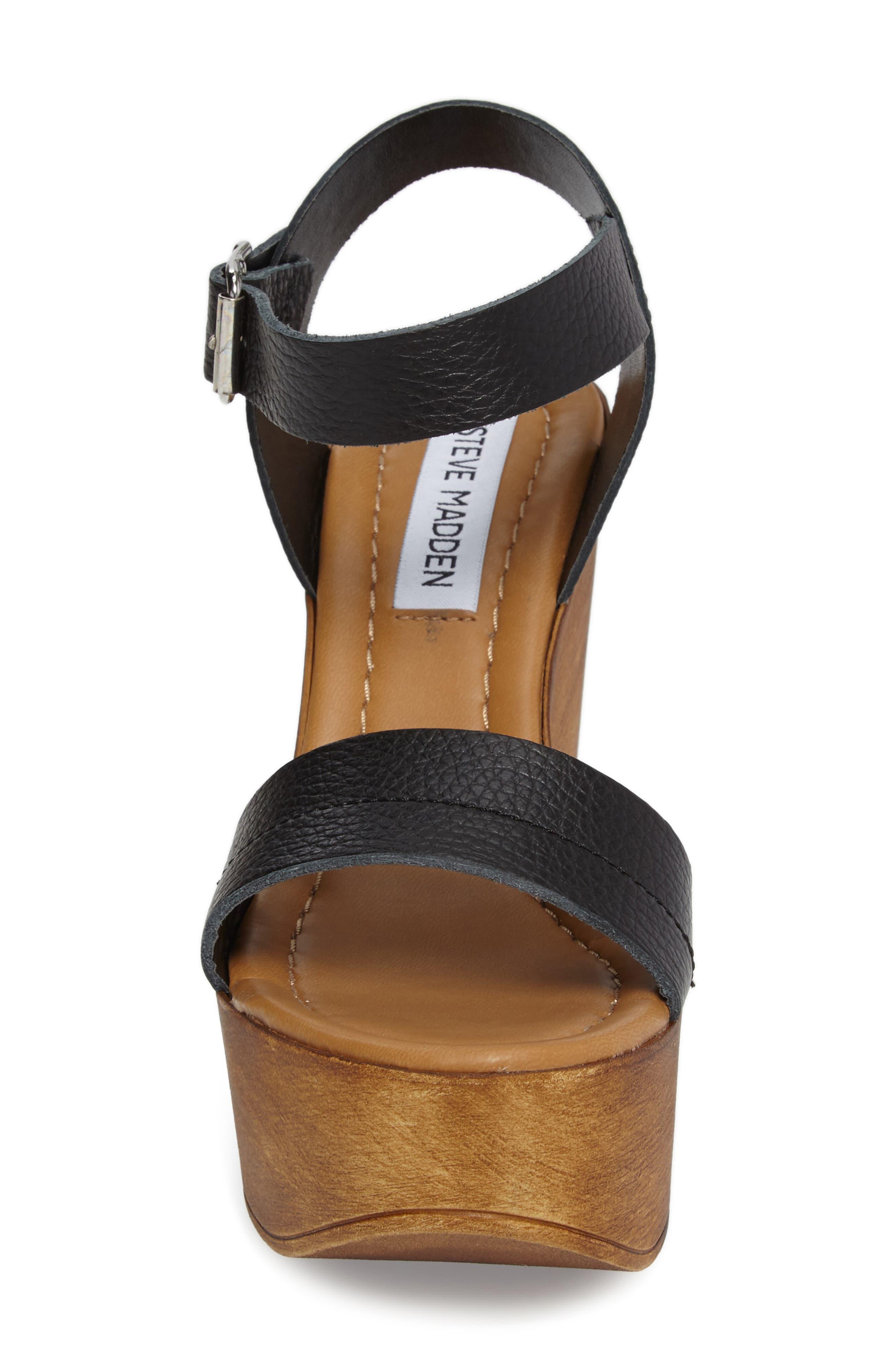 Belma Wedge Sandal,                             Alternate thumbnail 4, color,                             Black Leather