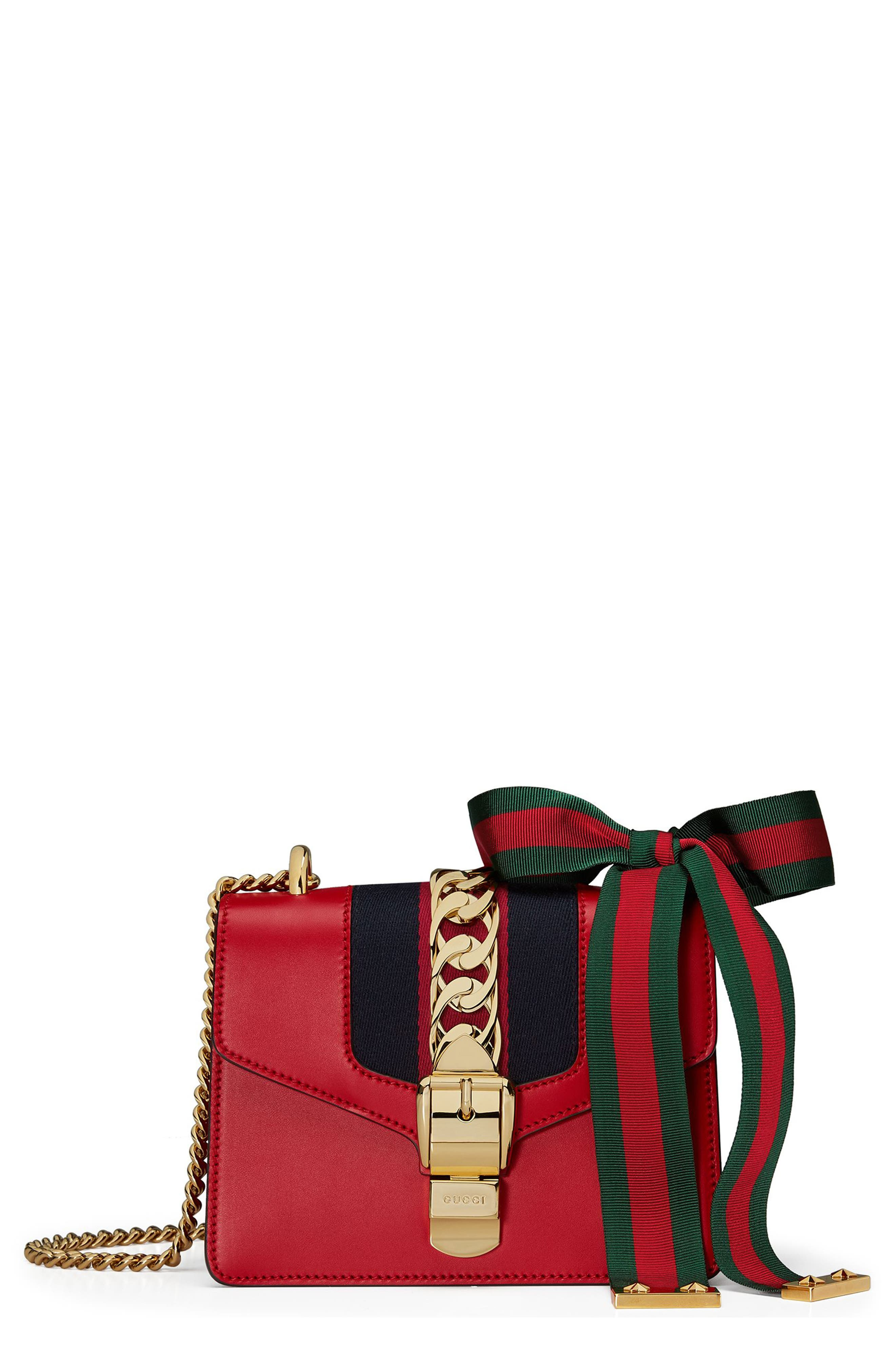 Mini Sylvie Leather Shoulder Bag,                             Main thumbnail 1, color,                             Hibiscus Red