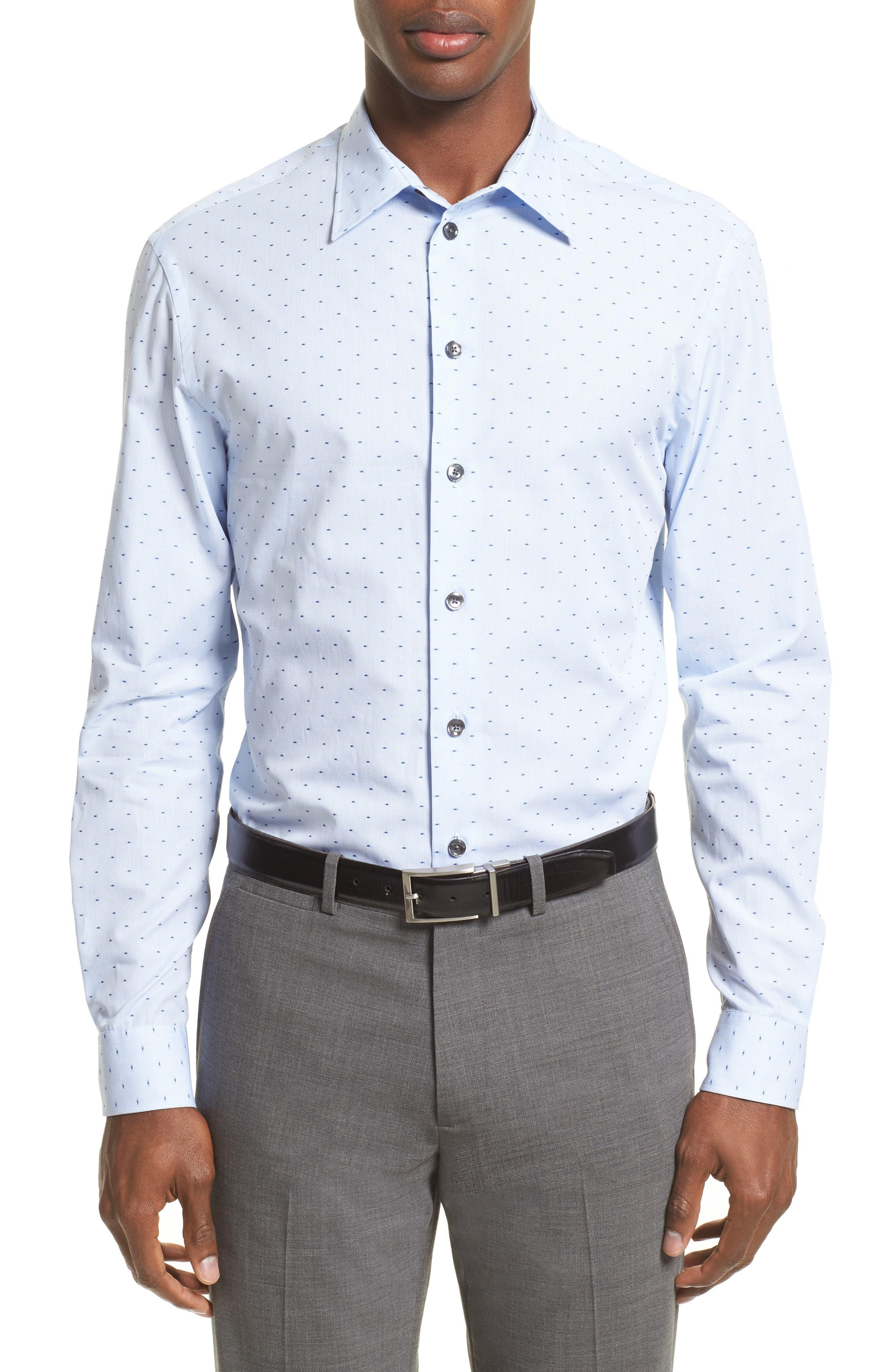 Regular Fit Print Sport Shirt,                         Main,                         color, Blue