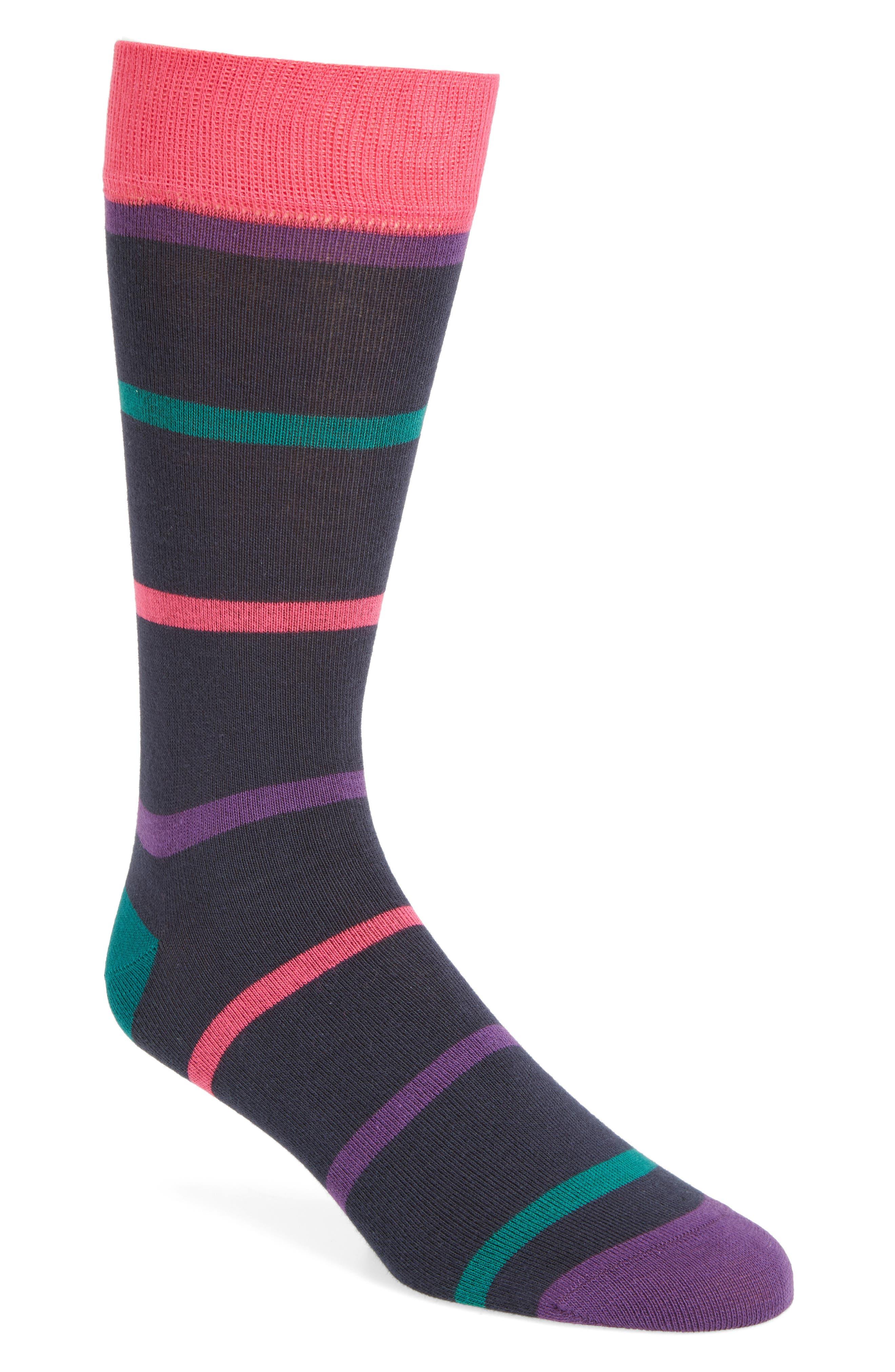 Stripe Crew Socks,                         Main,                         color, Navy