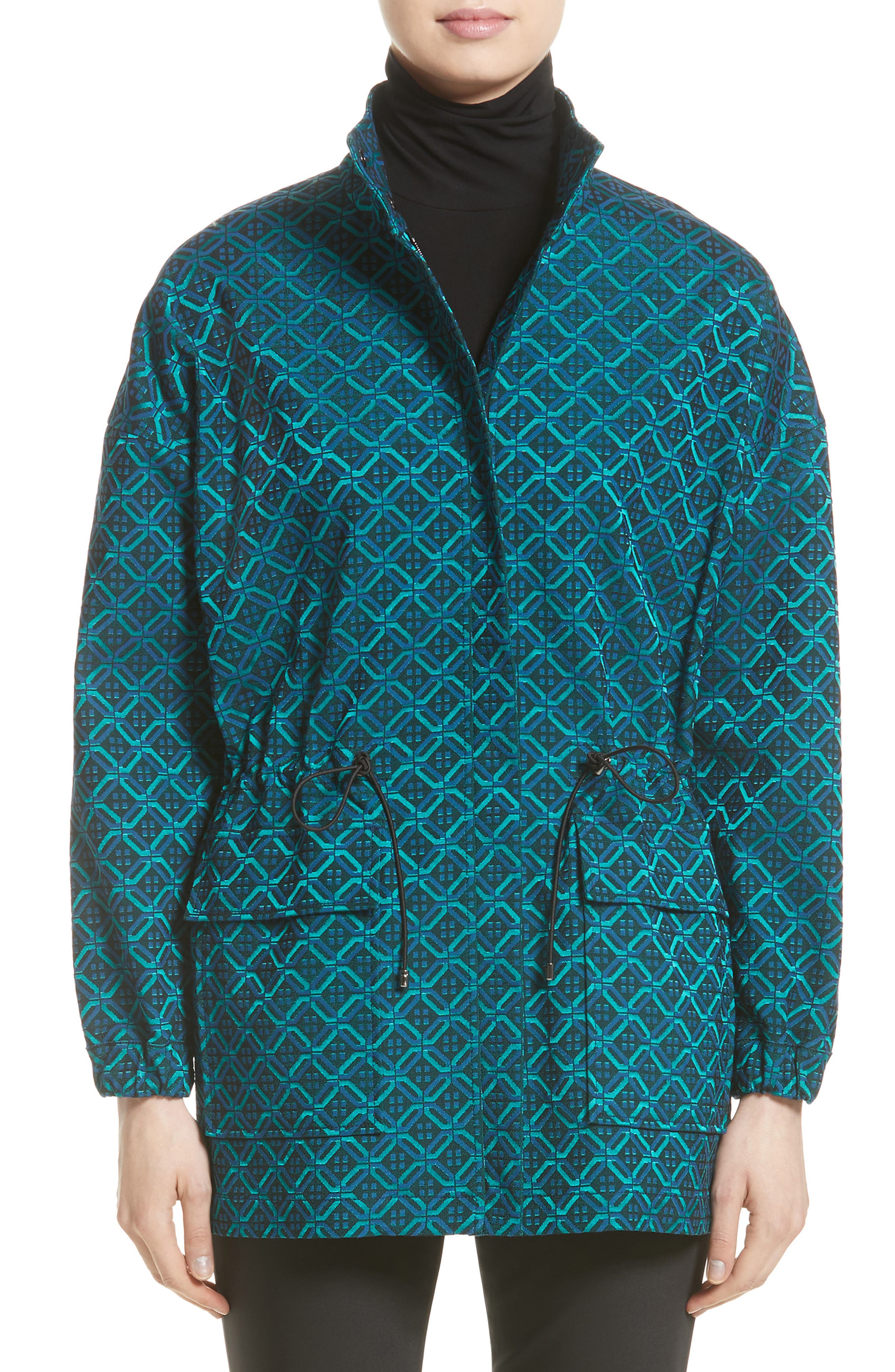 Tile Jacquard Funnel Neck Jacket,                         Main,                         color, Azurite Multi