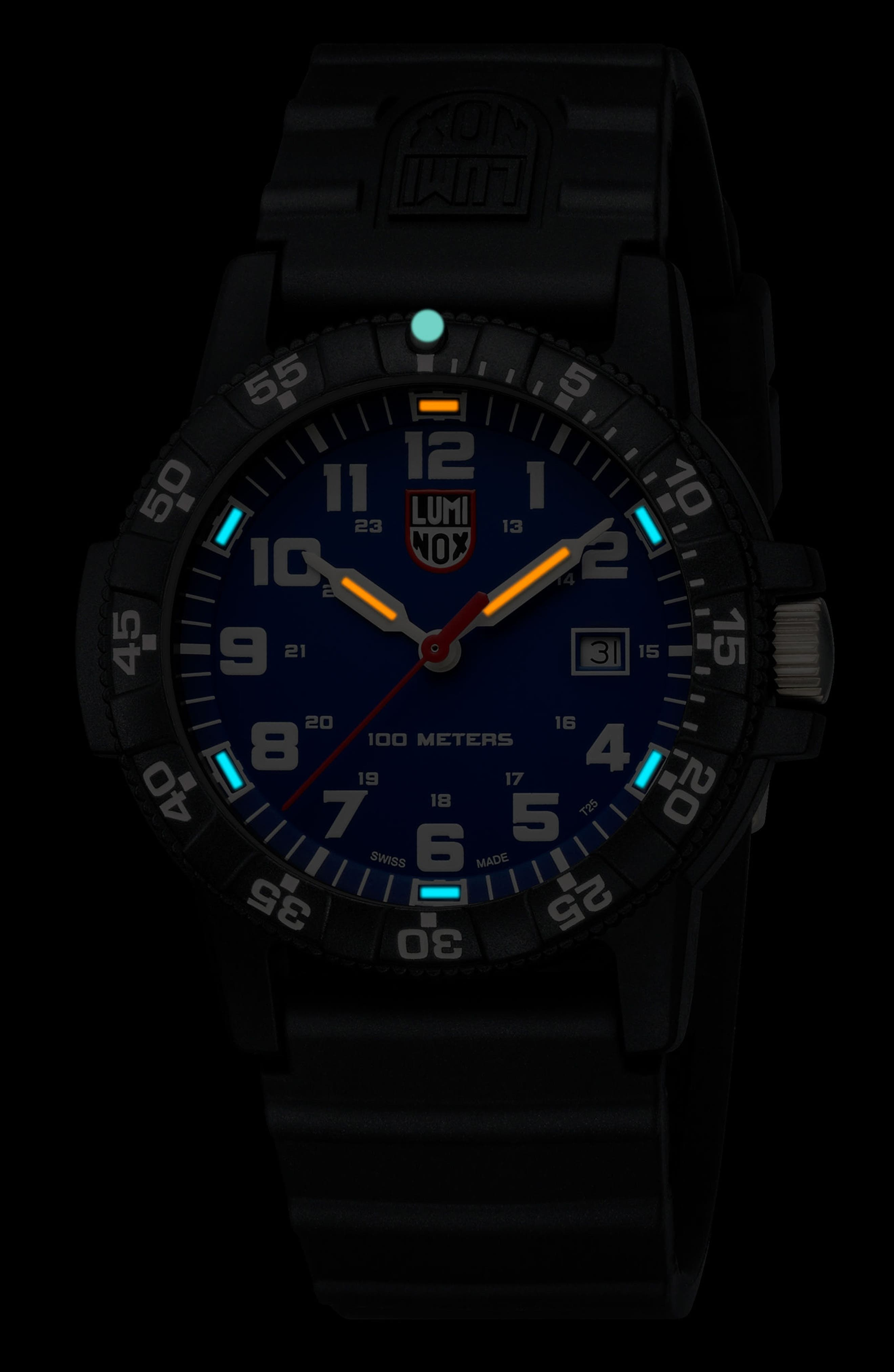 Sea Turtle 0320 Polyurethane Strap Watch, 44mm,                             Alternate thumbnail 2, color,                             Blue/ Black