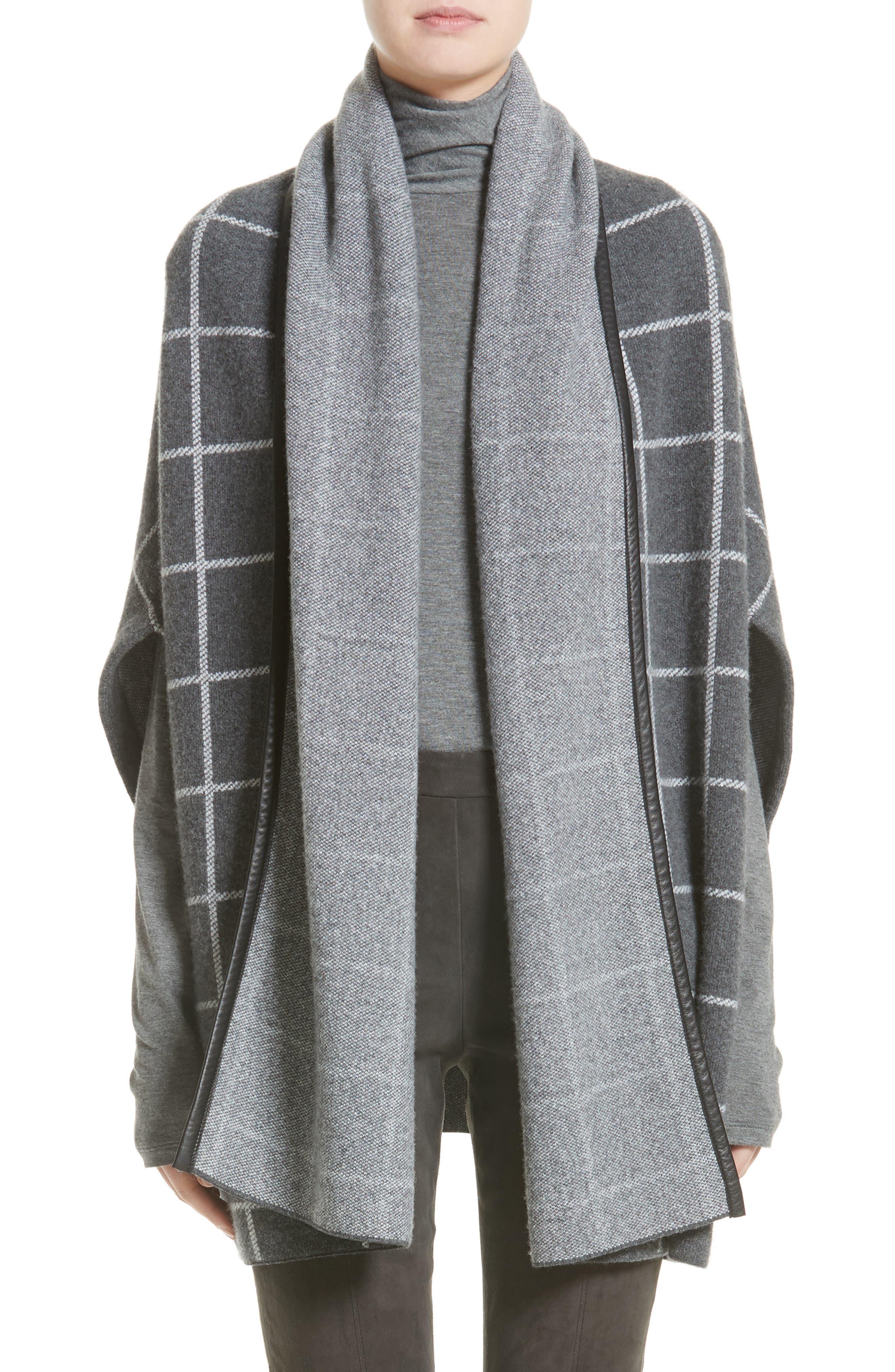 Leather Trim Windowpane Felted Wool Blend Cardigan,                         Main,                         color, Flint Melange/ Cream