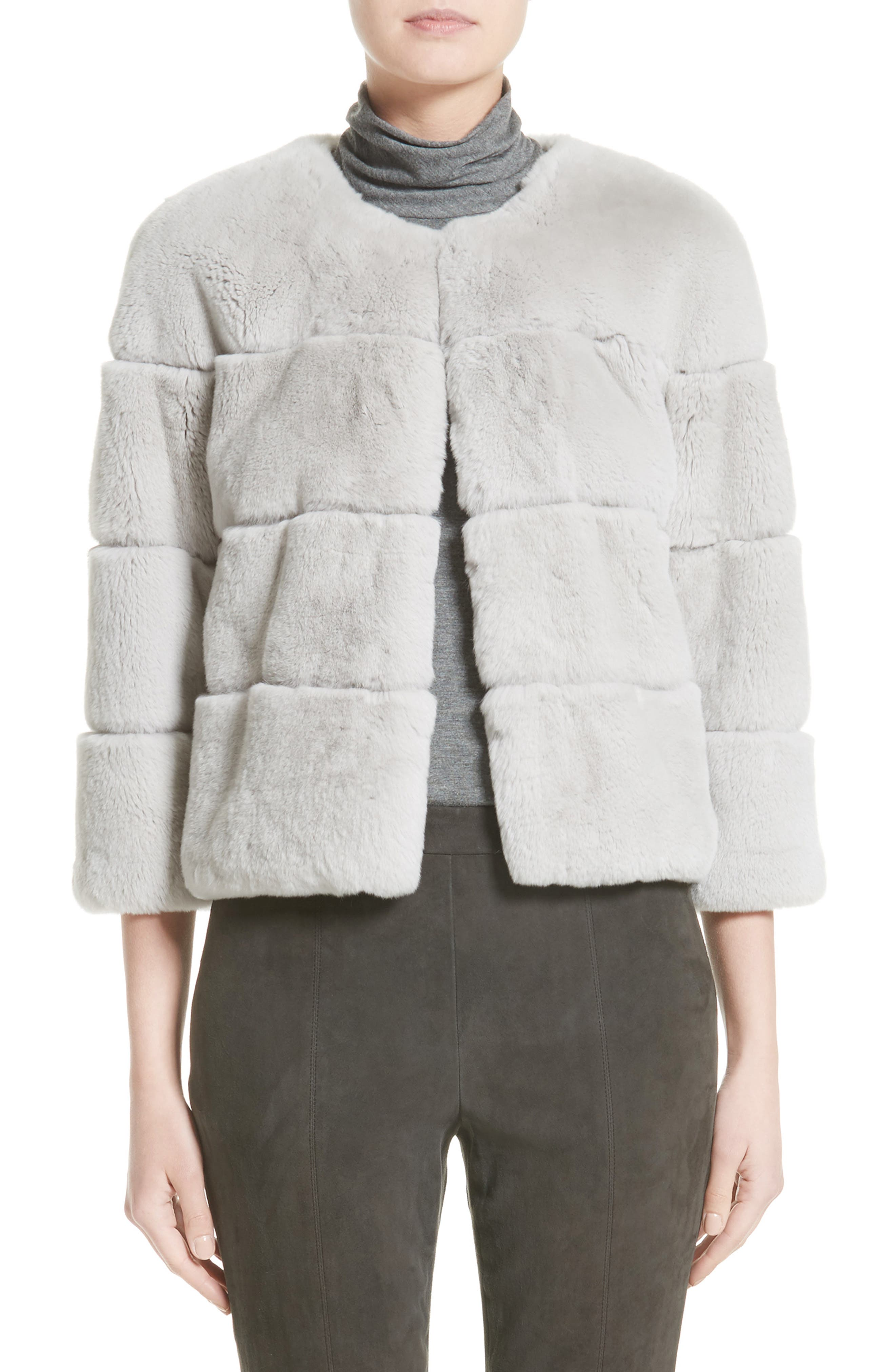 Genuine Rex Rabbit Fur Jacket,                         Main,                         color, Light Grey