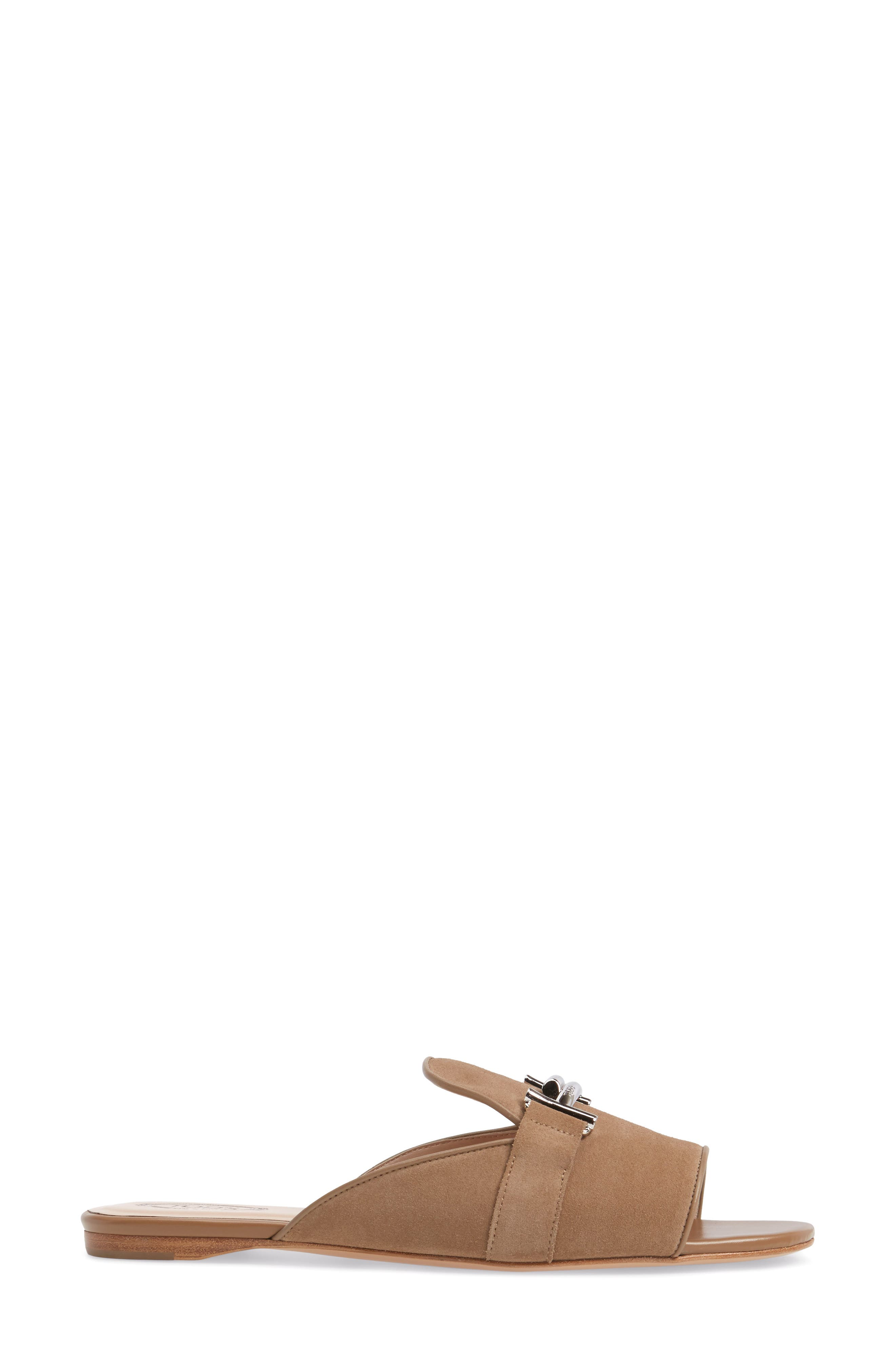 Double T Open Toe Loafer Mule,                             Alternate thumbnail 3, color,                             Tan