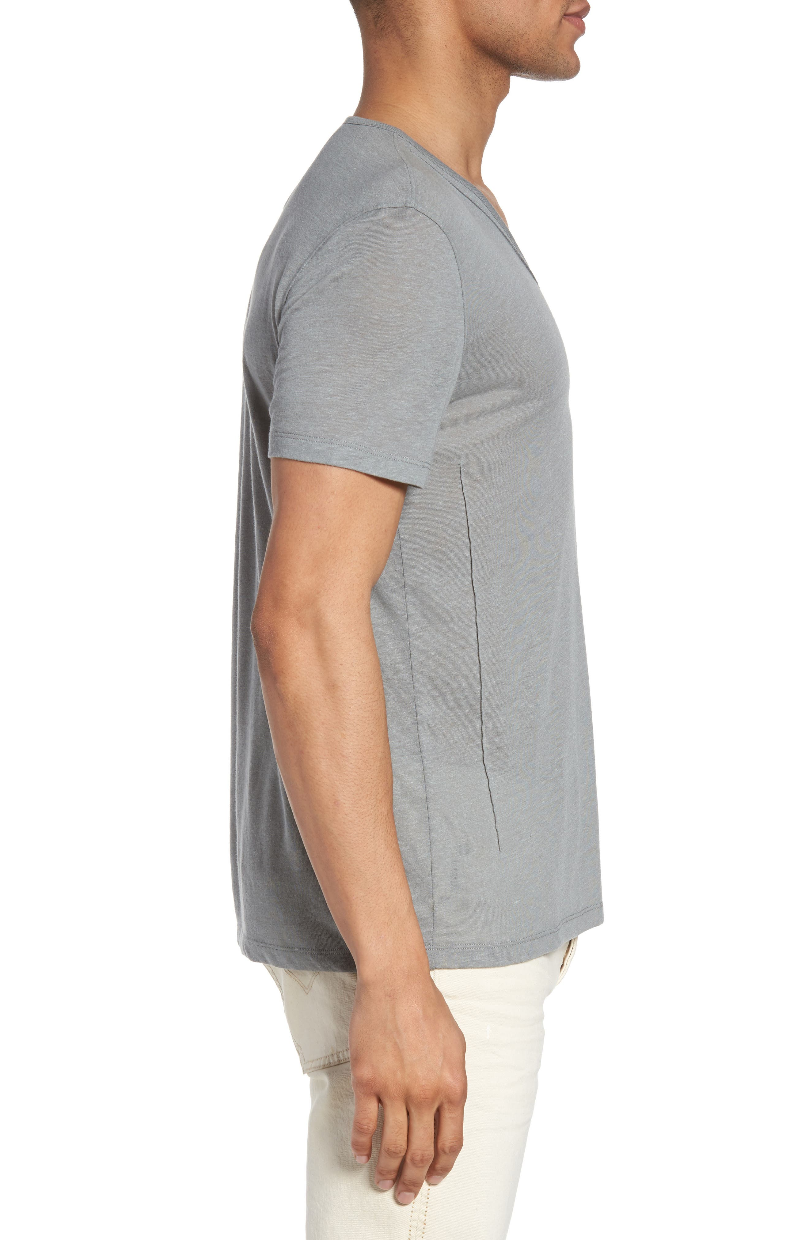 V-Neck T-Shirt,                             Alternate thumbnail 3, color,                             Elephant Grey