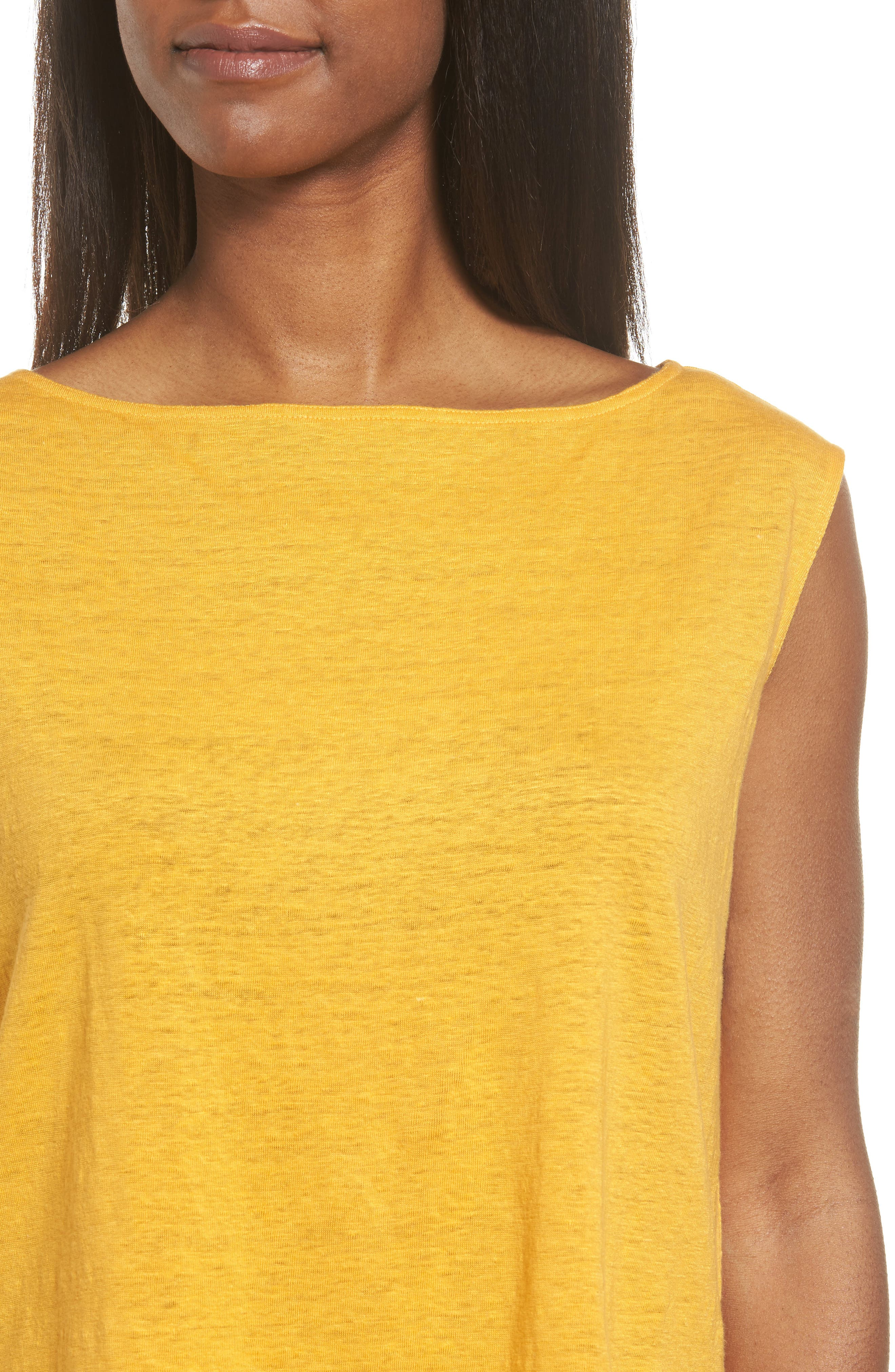 Organic Linen Top,                             Alternate thumbnail 4, color,                             Orangeade