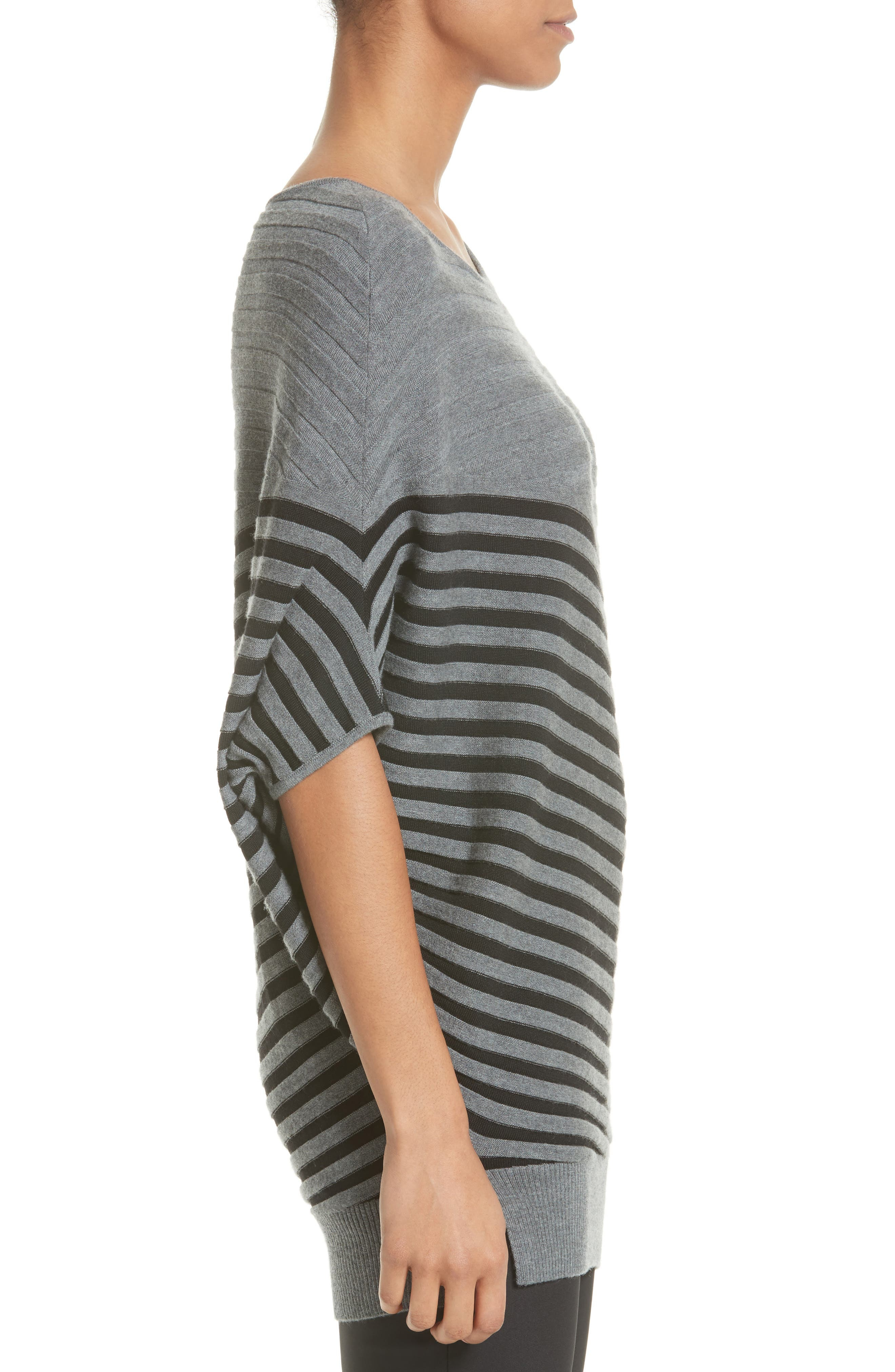 Alternate Image 3  - St. John Collection Stripe Wool Asymmetrical Sweater
