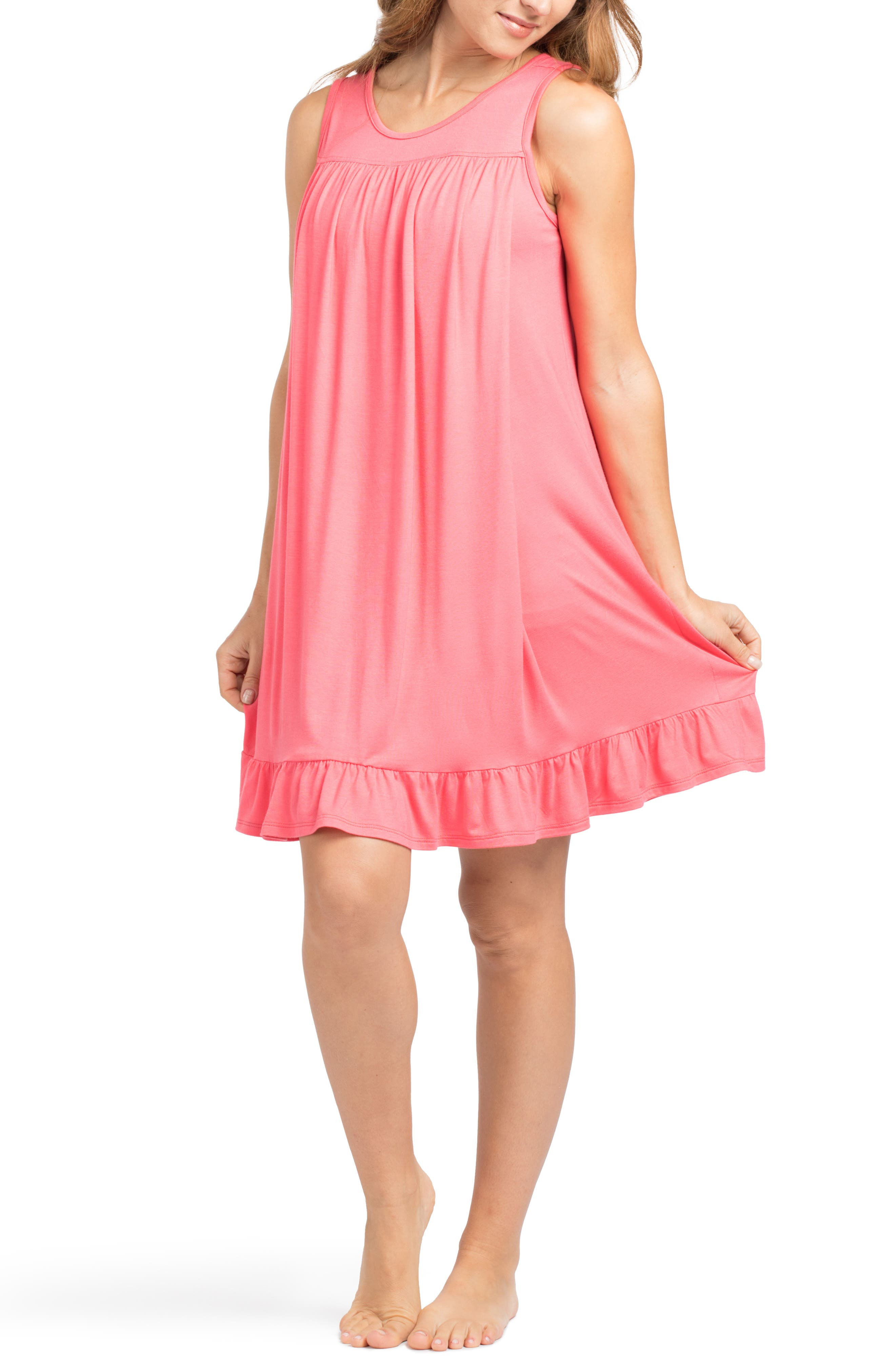 'The Ruffled' Sleeveless Maternity/Nursing Nightgown,                         Main,                         color, Coral