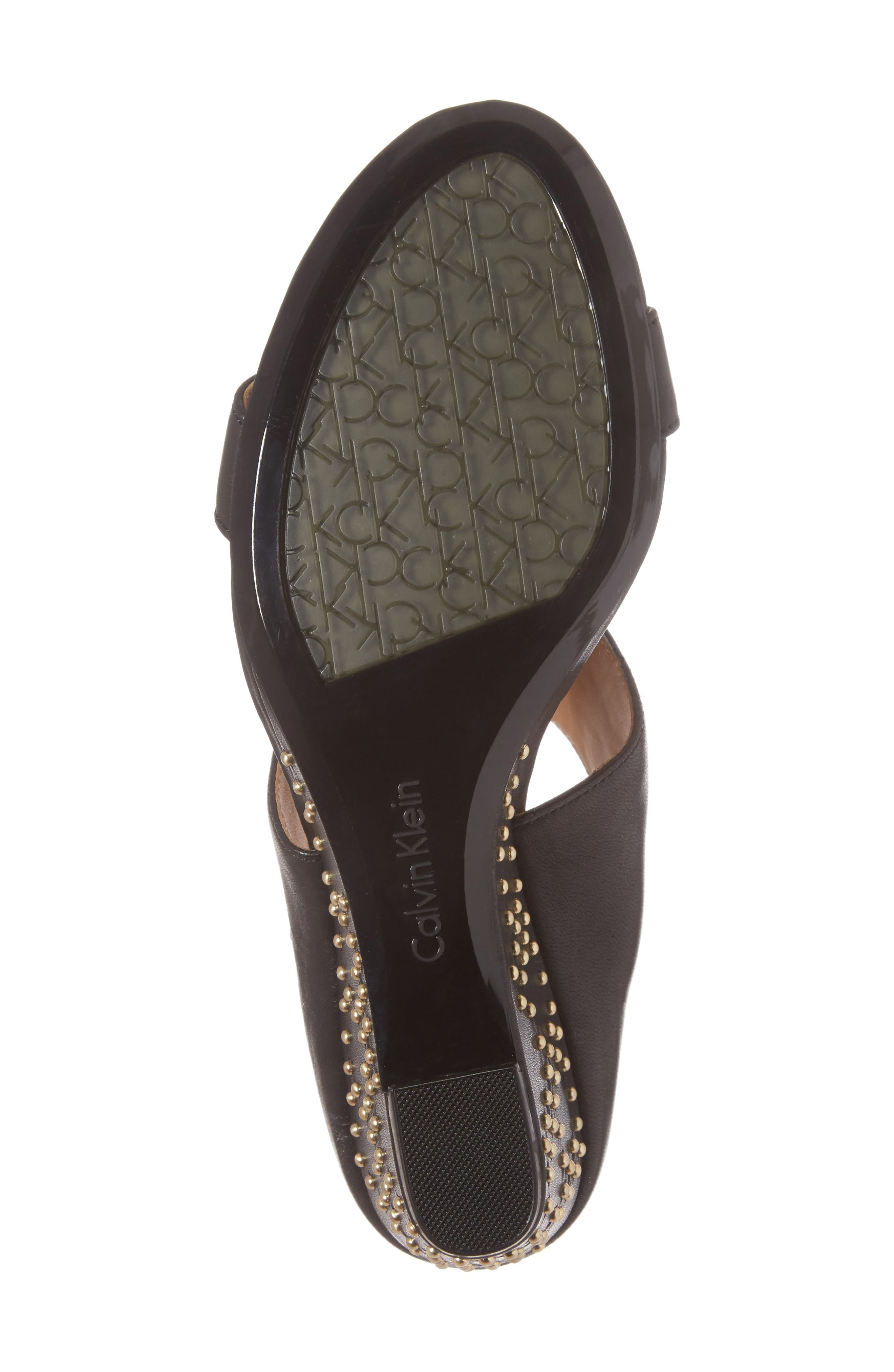 Phyllis Studded Wedge Sandal,                             Alternate thumbnail 6, color,                             Black Leather