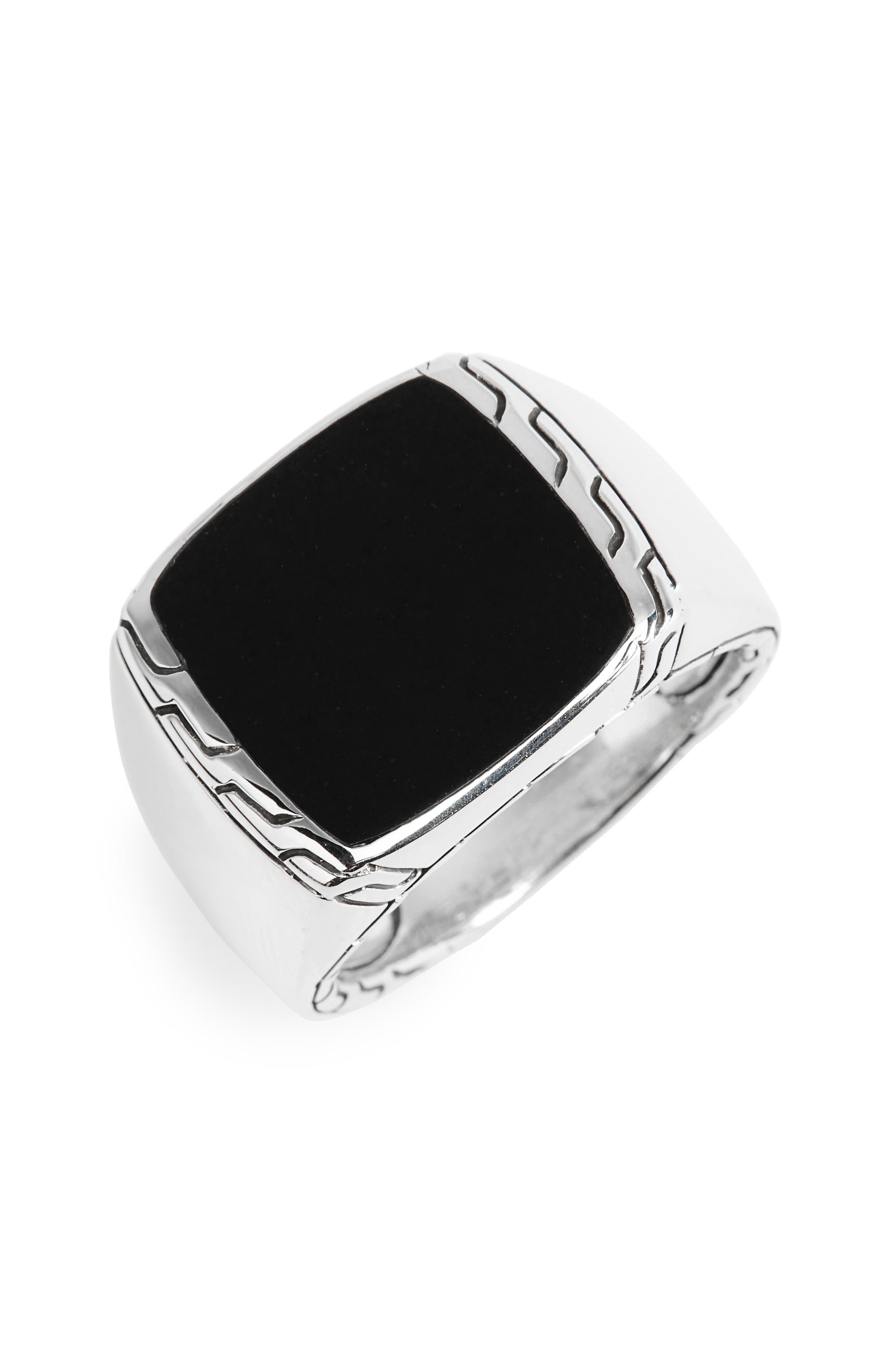 Classic Chain Signet Ring,                         Main,                         color, Silver/ Black Jade