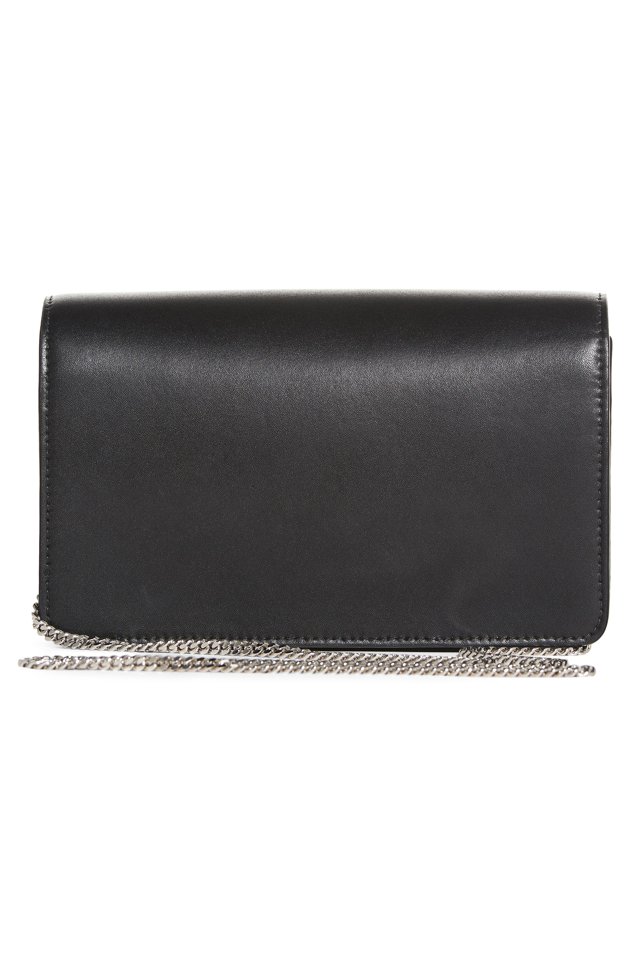Rainbow Studded Leather Tube Wallet on a Chain,                             Alternate thumbnail 3, color,                             Black Multi