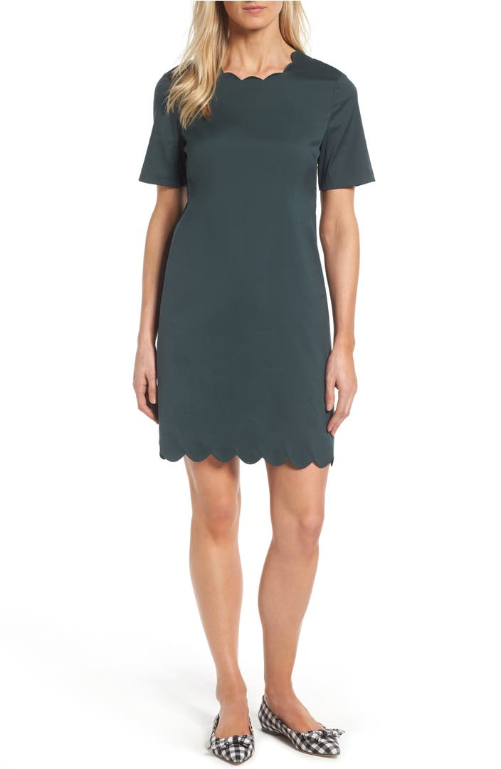 Halogen 174 Scalloped Shift Dress Regular Amp Petite Nordstrom