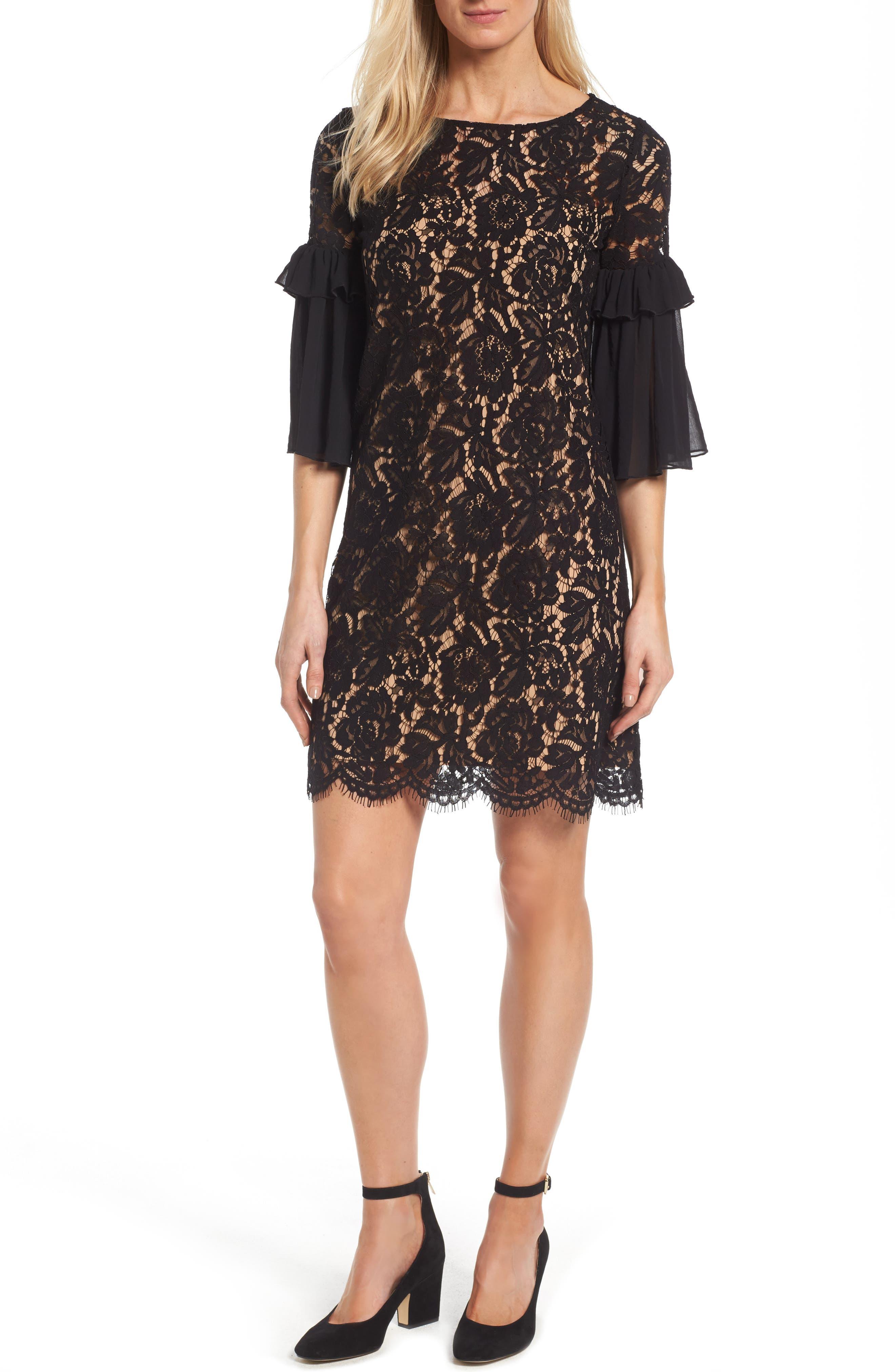 Karen Kane Ruffle Sleeve Lace Shift Dress (Regular & Petite)