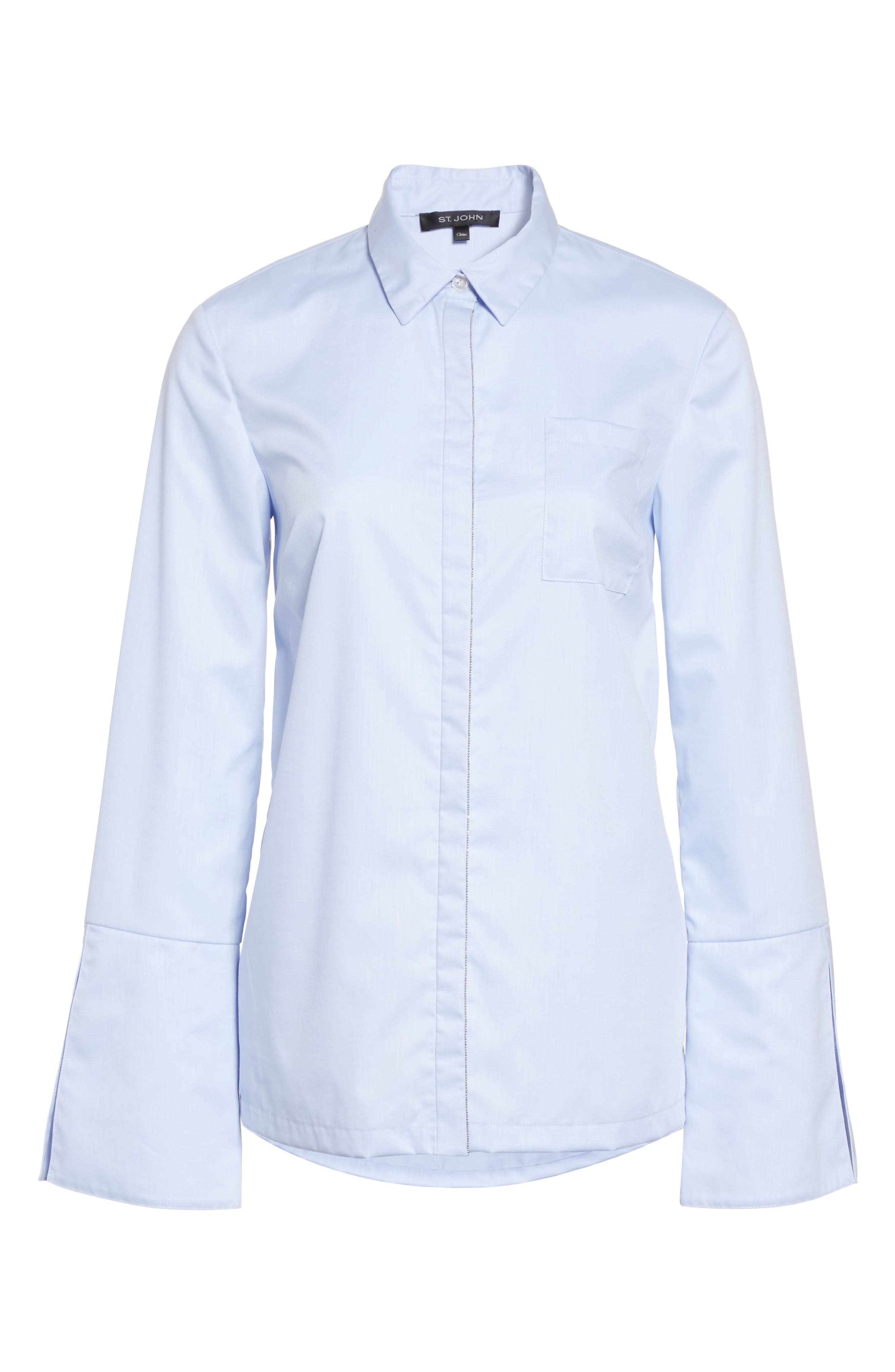 Alternate Image 6  - St. John Collection Bell Sleeve High/Low Oxford Shirt