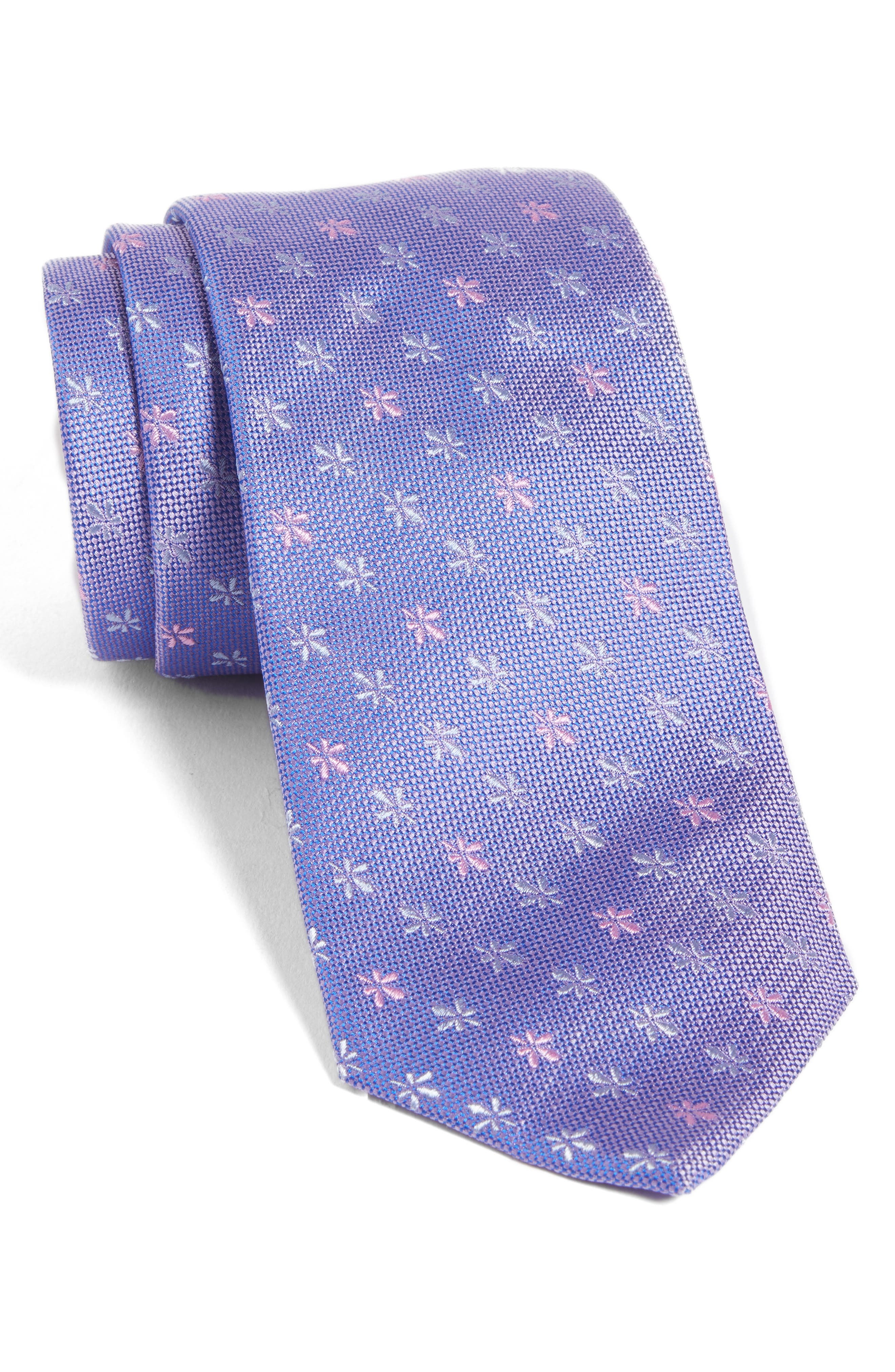 Floral Silk Tie,                             Main thumbnail 1, color,                             Light Pastel/ Purple