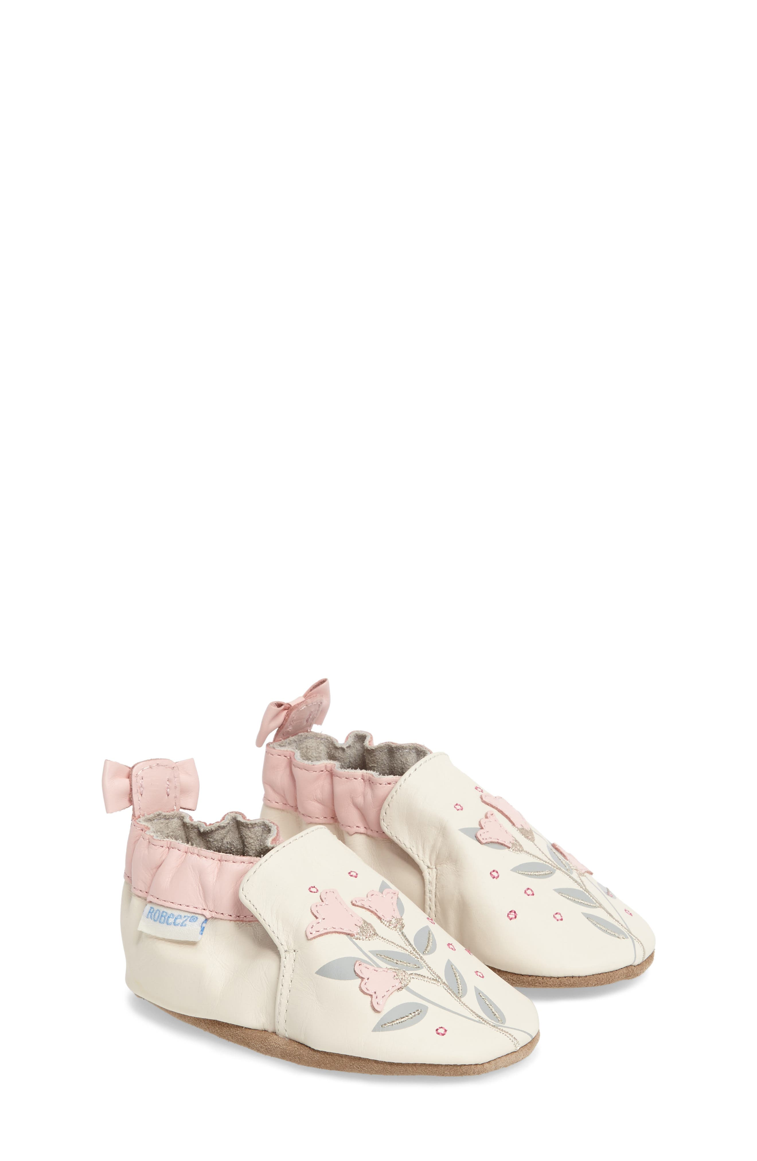 Rosealean Crib Shoe,                         Main,                         color, Cream/ Pink Leather