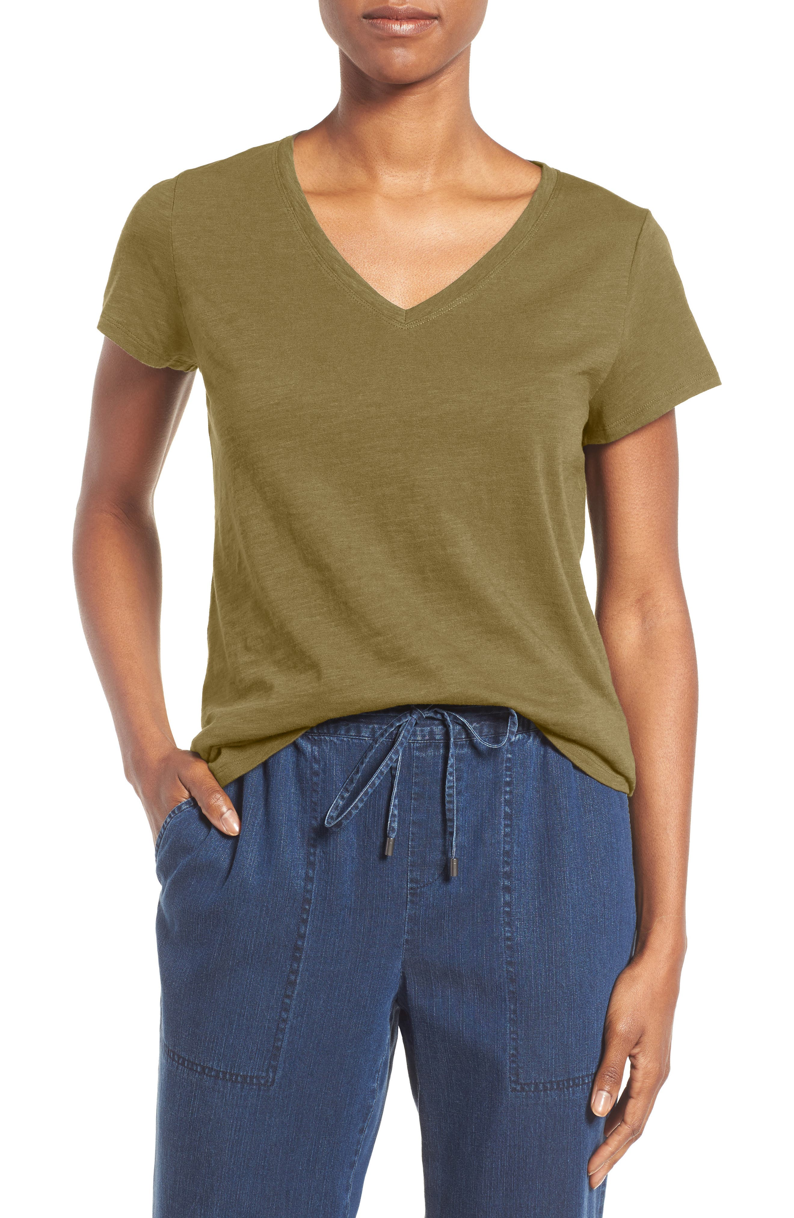 Organic Cotton V-Neck Tee,                         Main,                         color, Olive