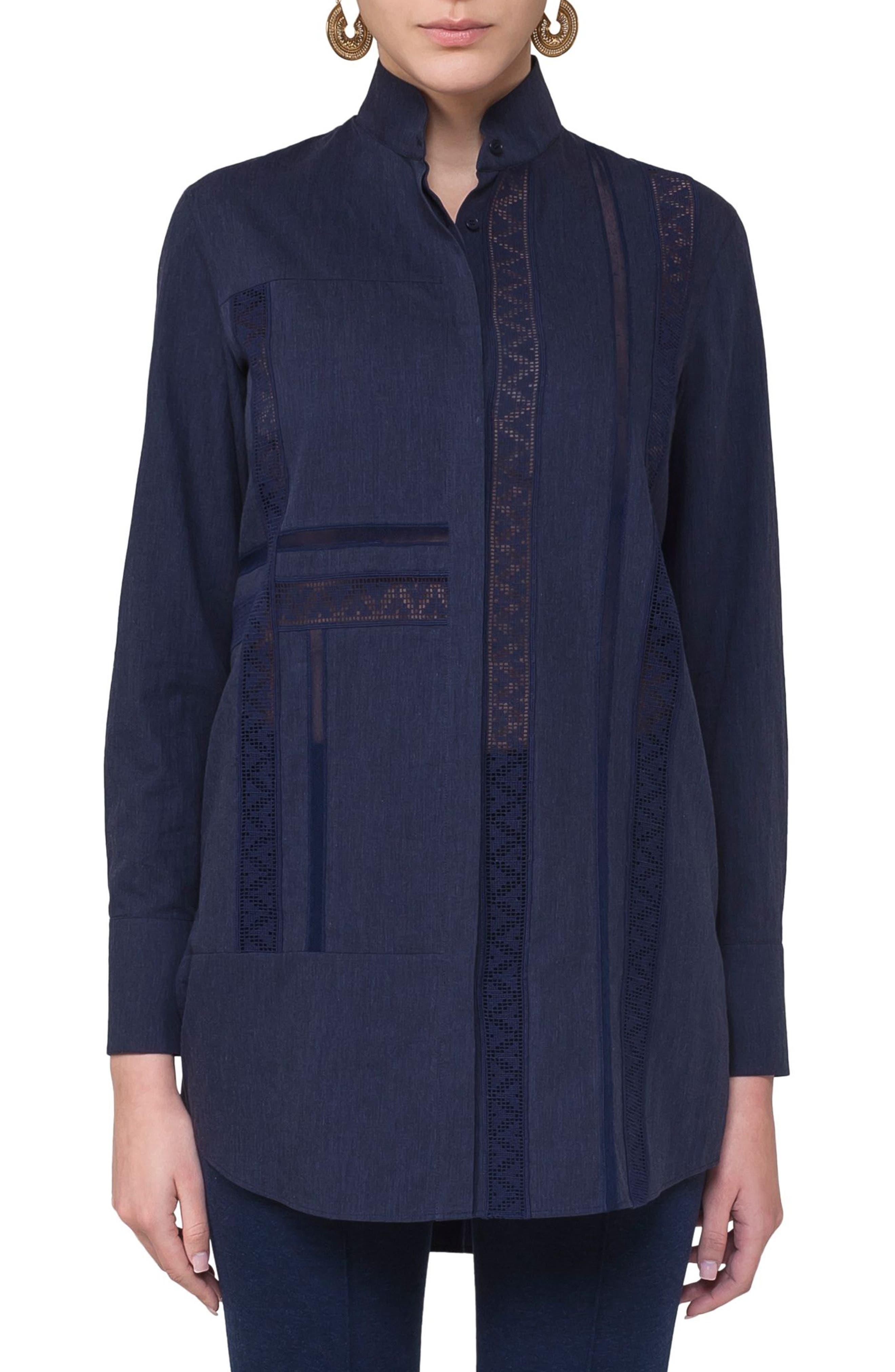 Lace Inset Cotton Blouse,                             Main thumbnail 1, color,                             Blue Denim