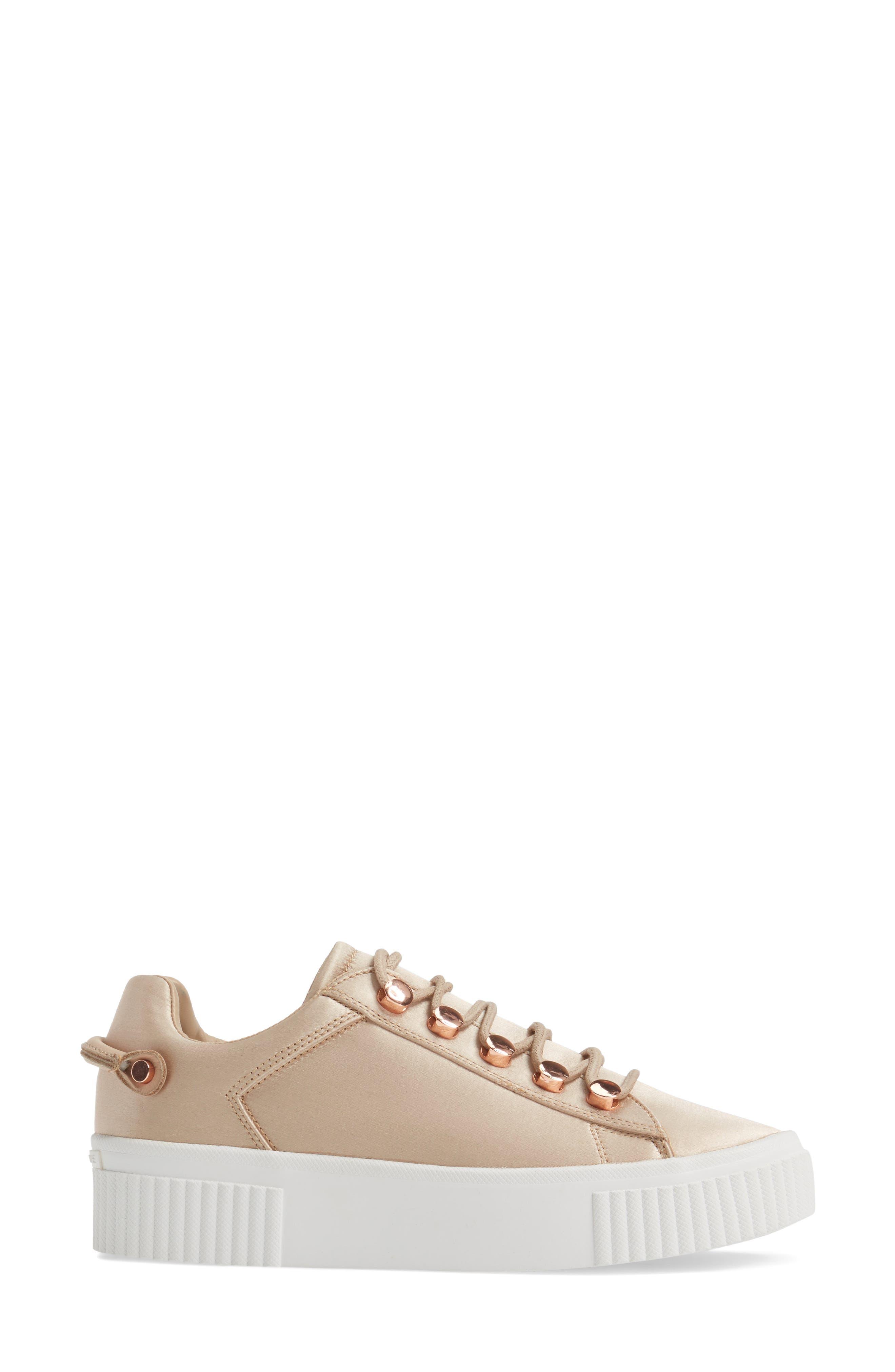 Rae 3 Platform Sneaker,                             Alternate thumbnail 3, color,                             Blush Satin