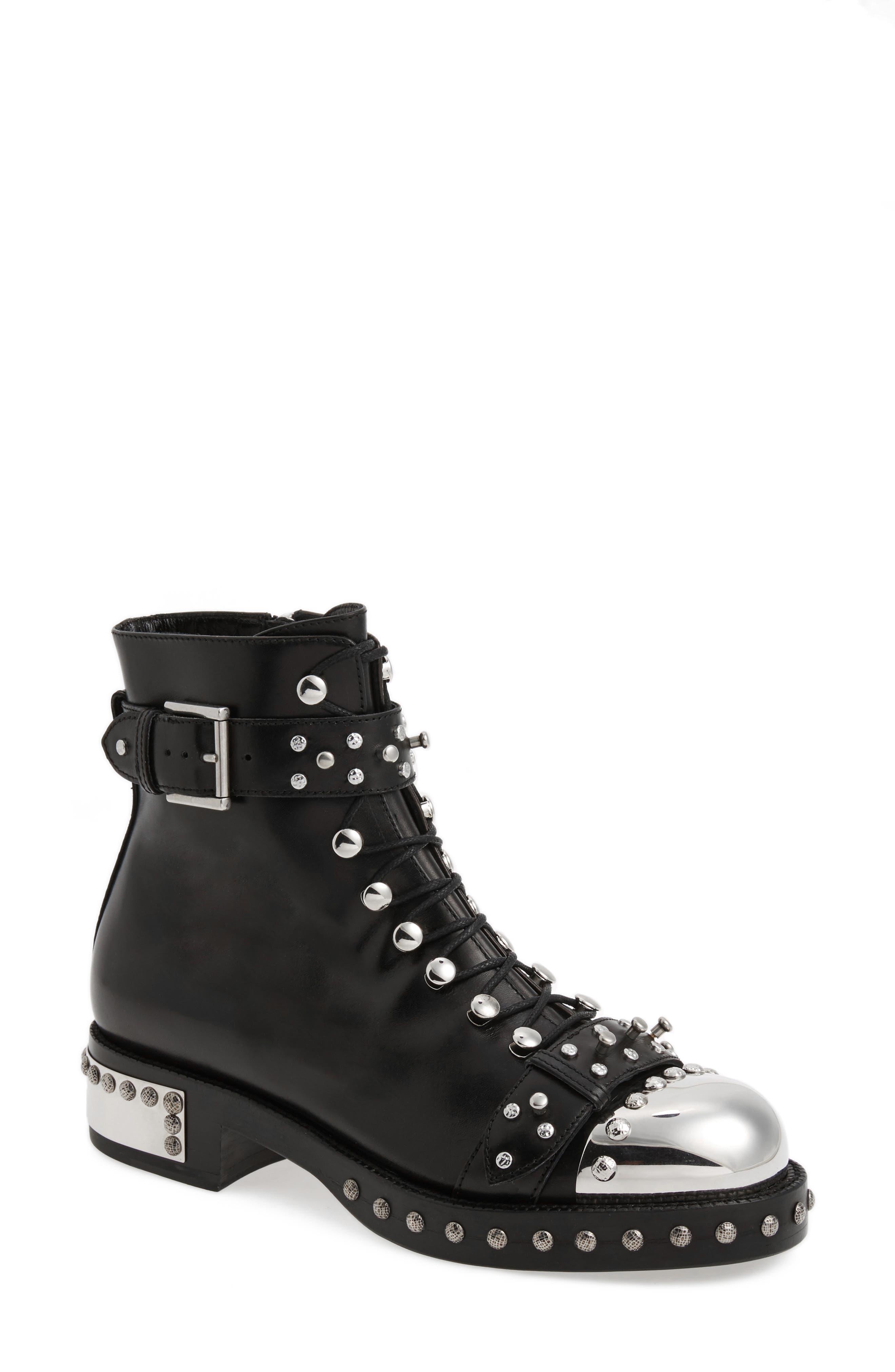 Alexander McQueen Studded Cap Toe Boot (Women)