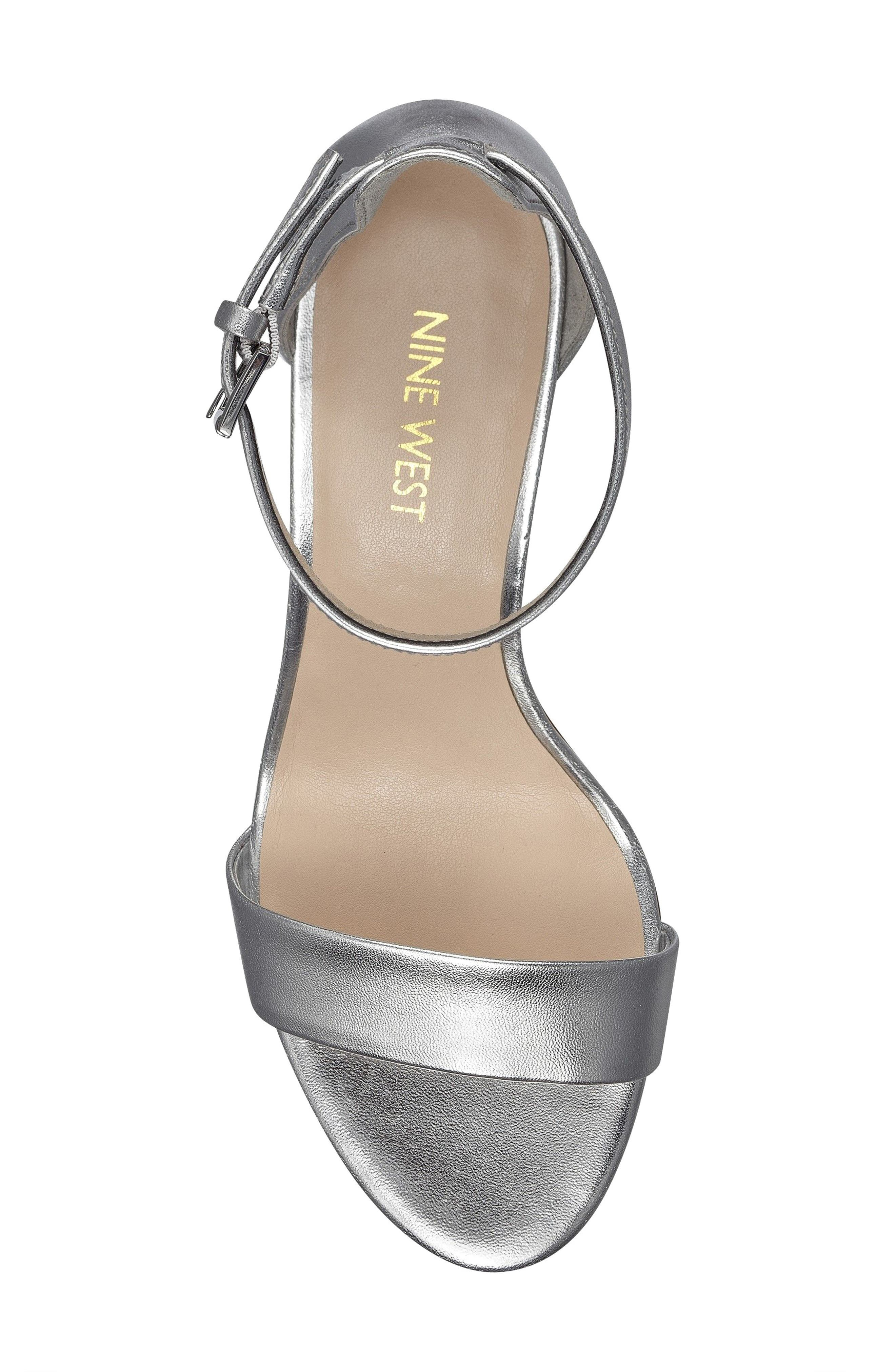Pruce Ankle Strap Sandal,                             Alternate thumbnail 4, color,                             Silver Fabric