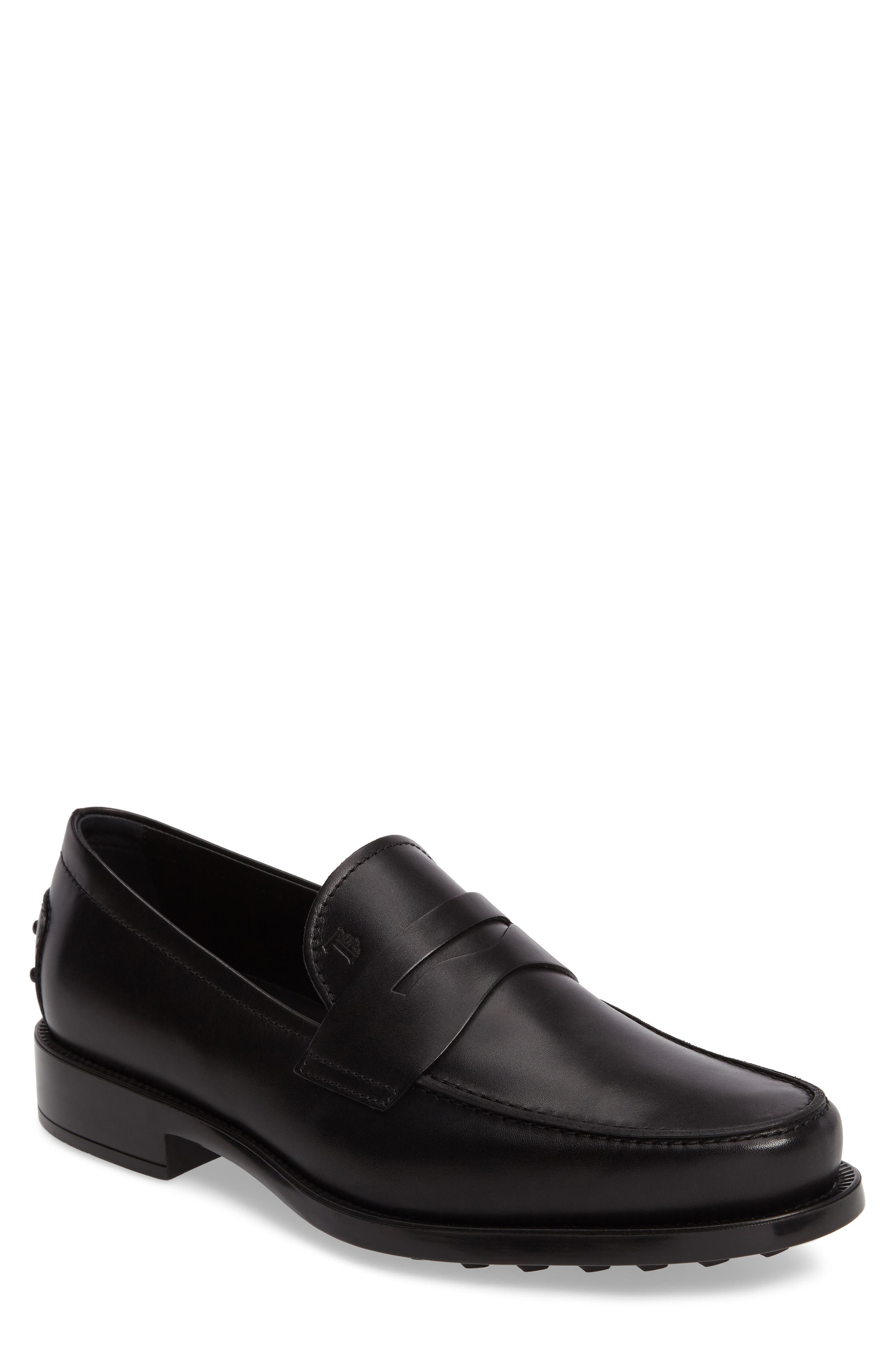 'Boston' Penny Loafer,                             Main thumbnail 1, color,                             Black Leather