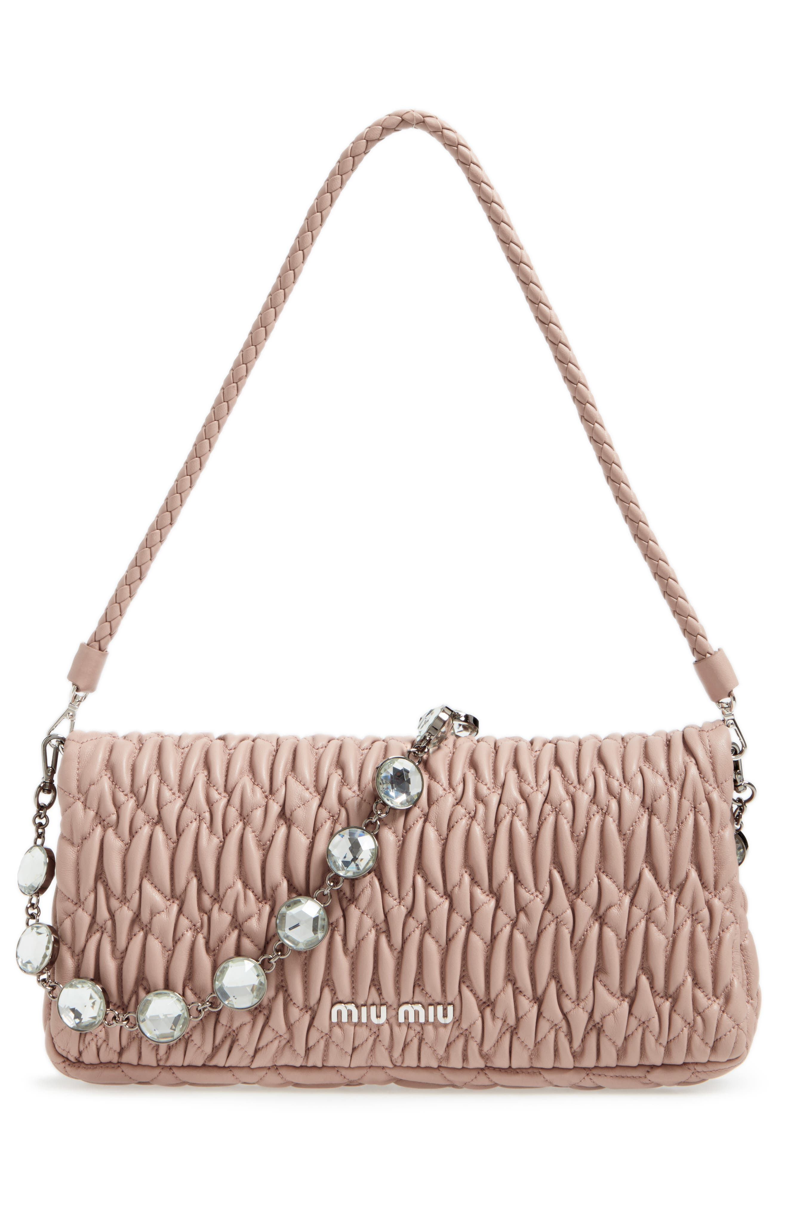 Alternate Image 2  - Miu Miu Medium Crystal Matelassé Leather Crossbody Bag