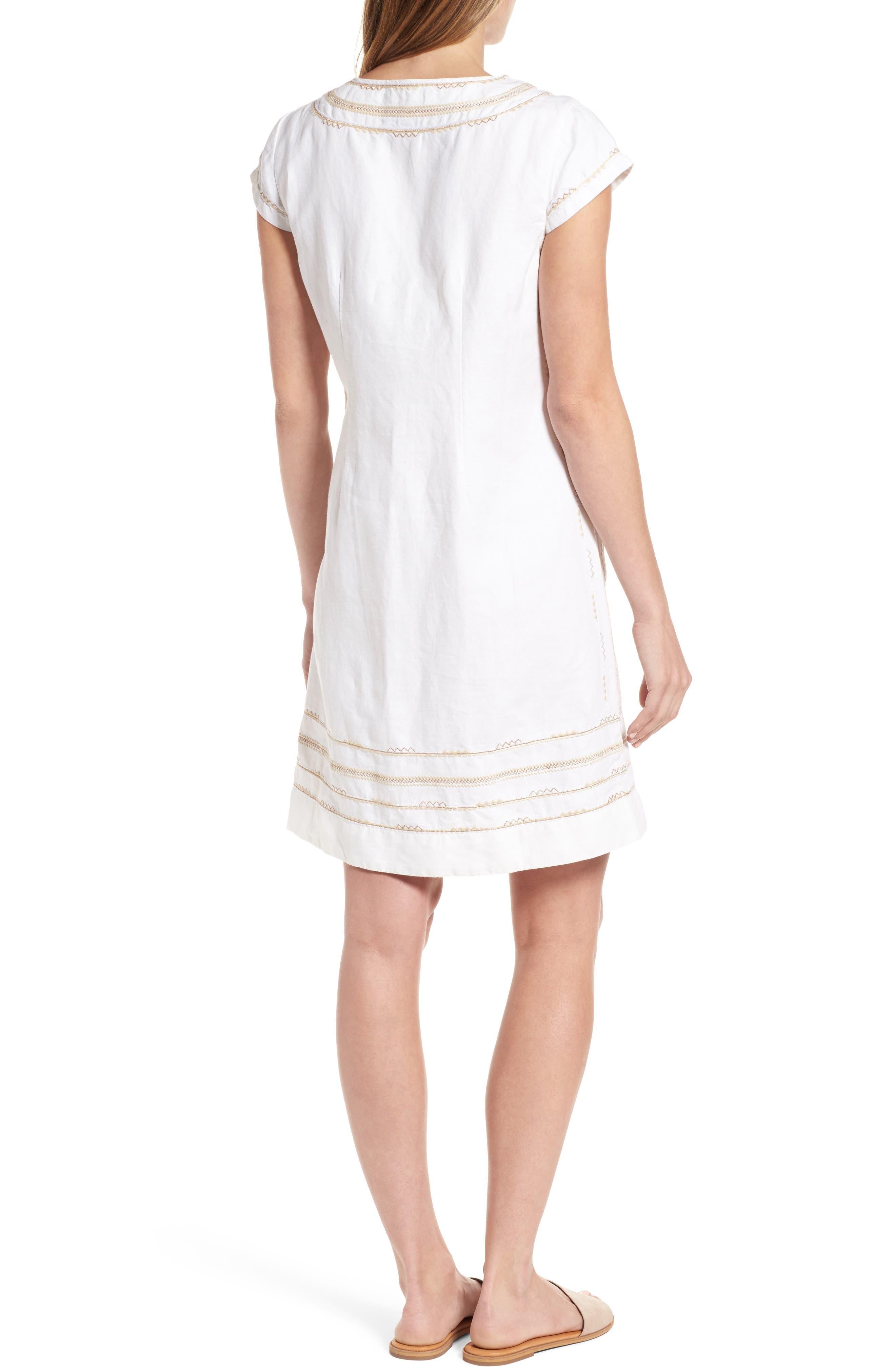 Embroidered Linen & Cotton Shift Dress,                             Alternate thumbnail 2, color,                             Bedouin Sand