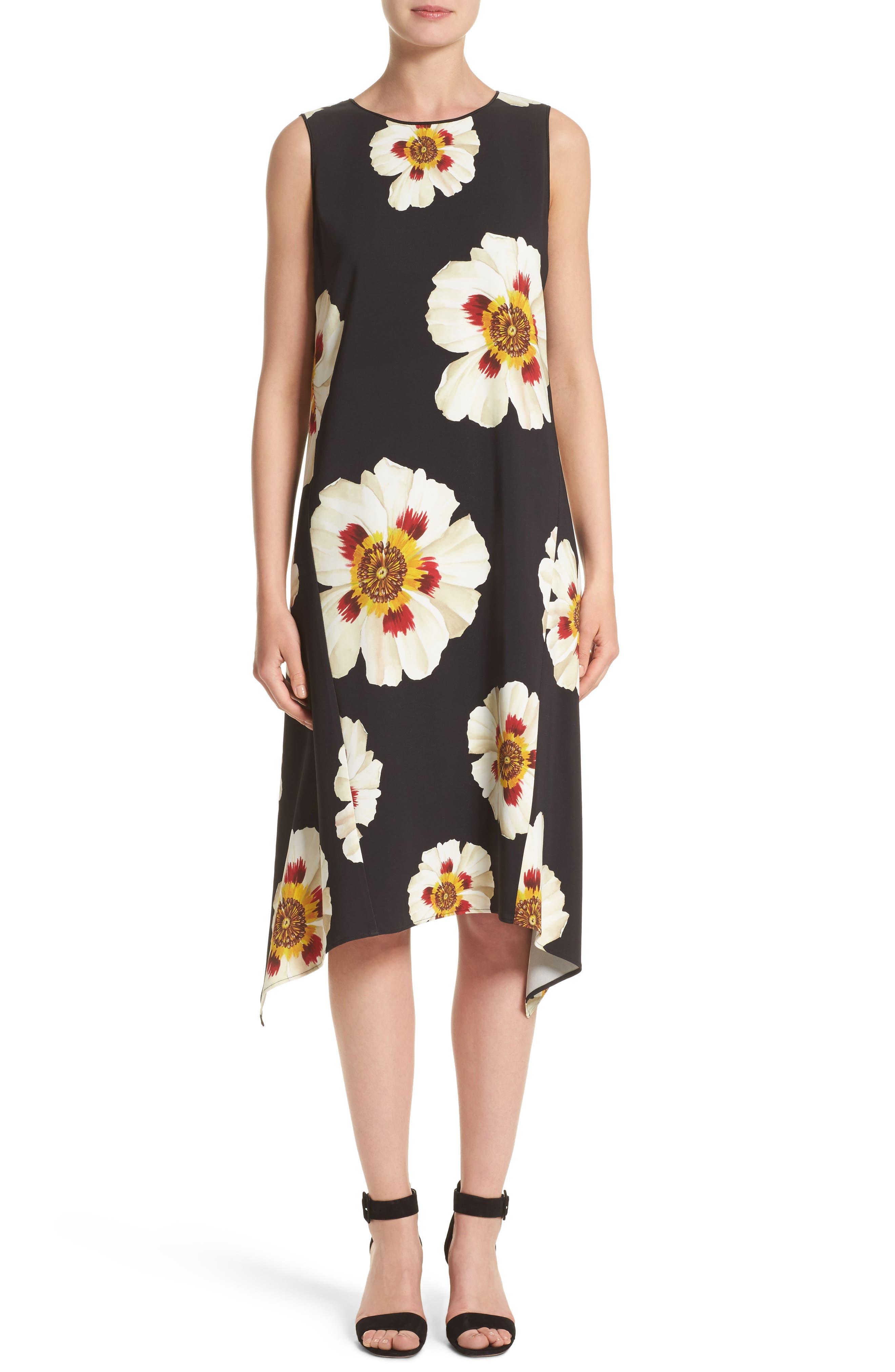 Romona Floral Fluid Cloth Dress,                         Main,                         color, Black Multi