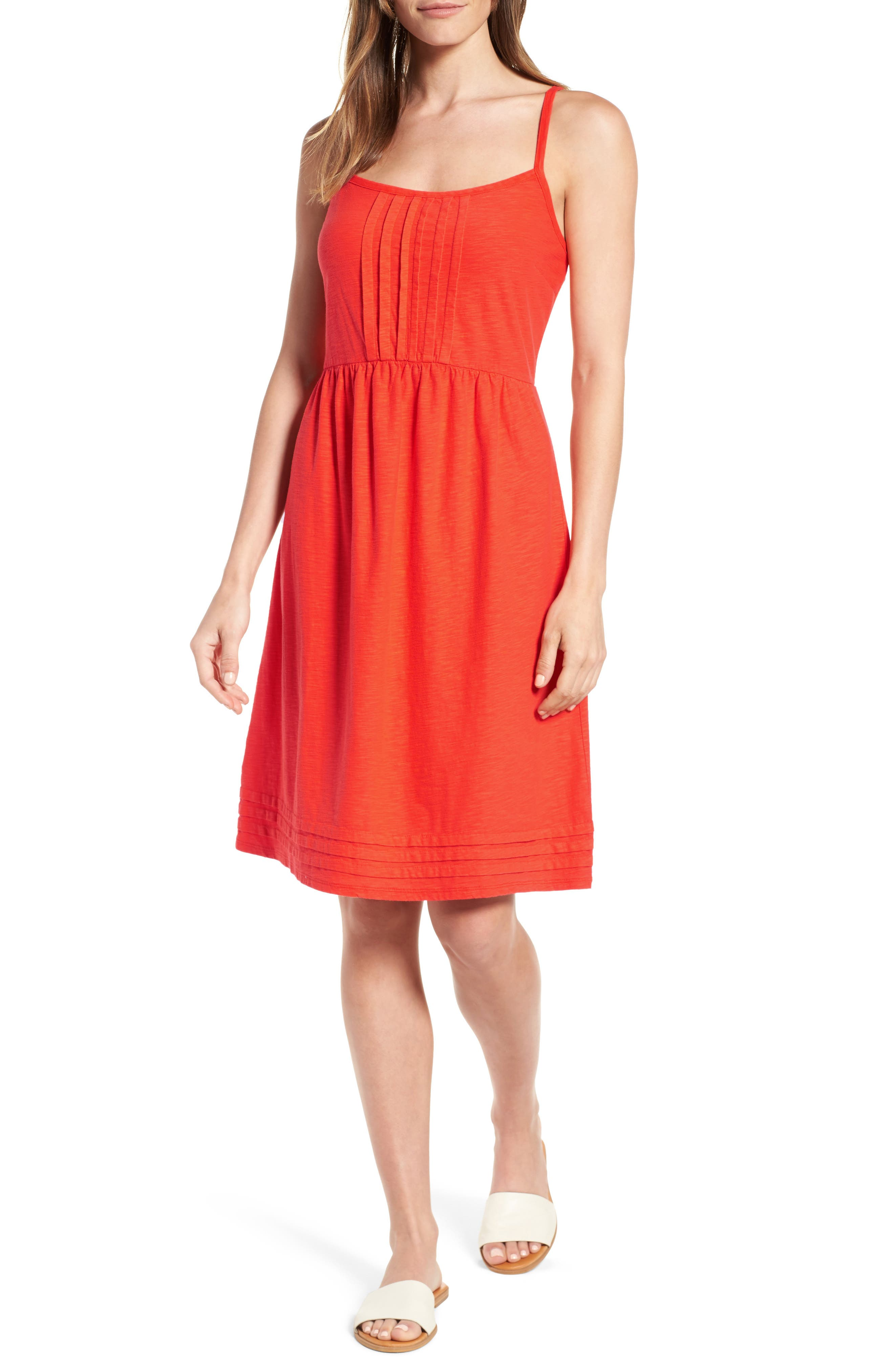 Arden Pleat Jersey Sundress,                         Main,                         color, Blazing Orange