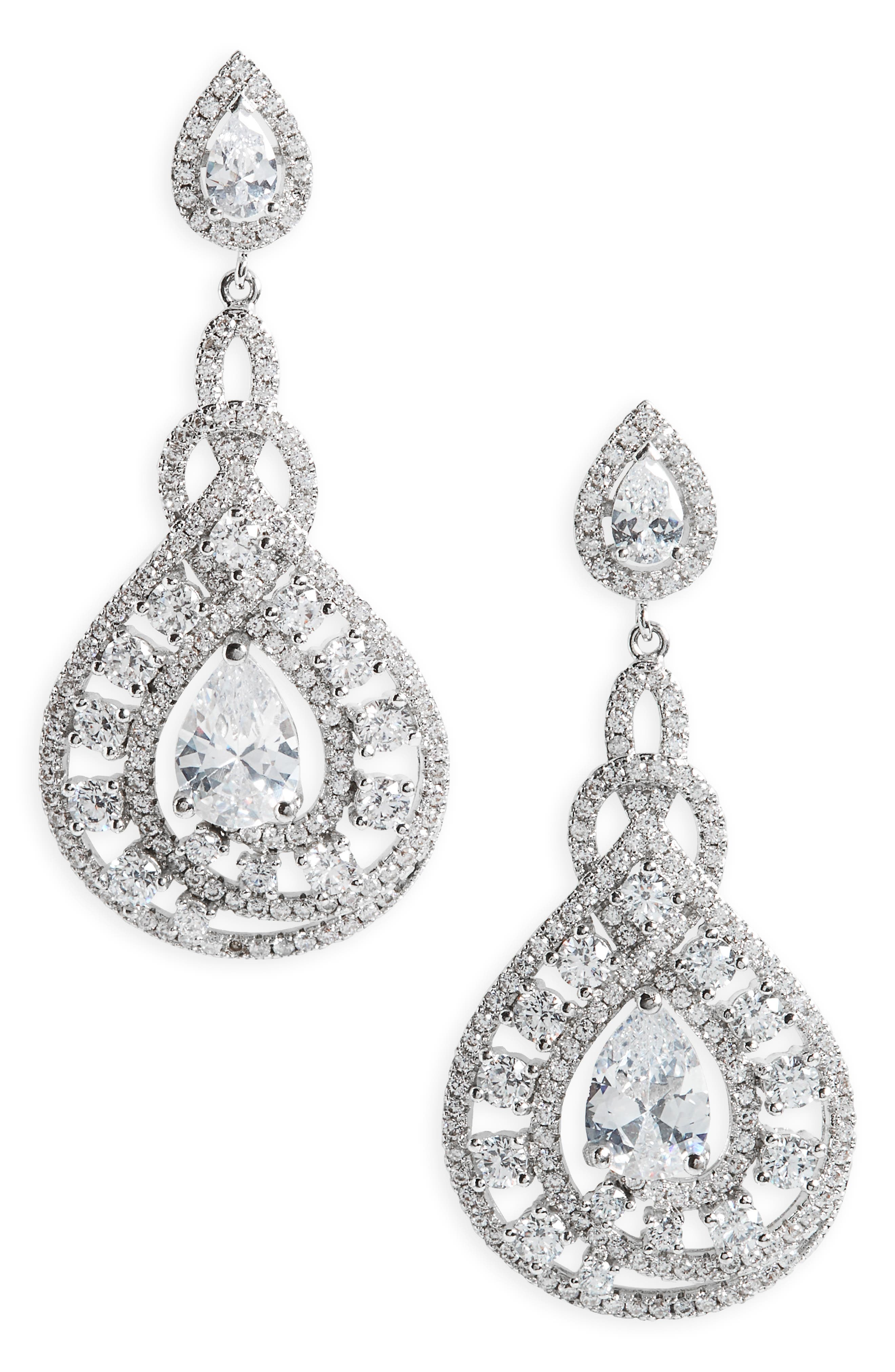Glamorous Drop Earrings,                         Main,                         color, Silver