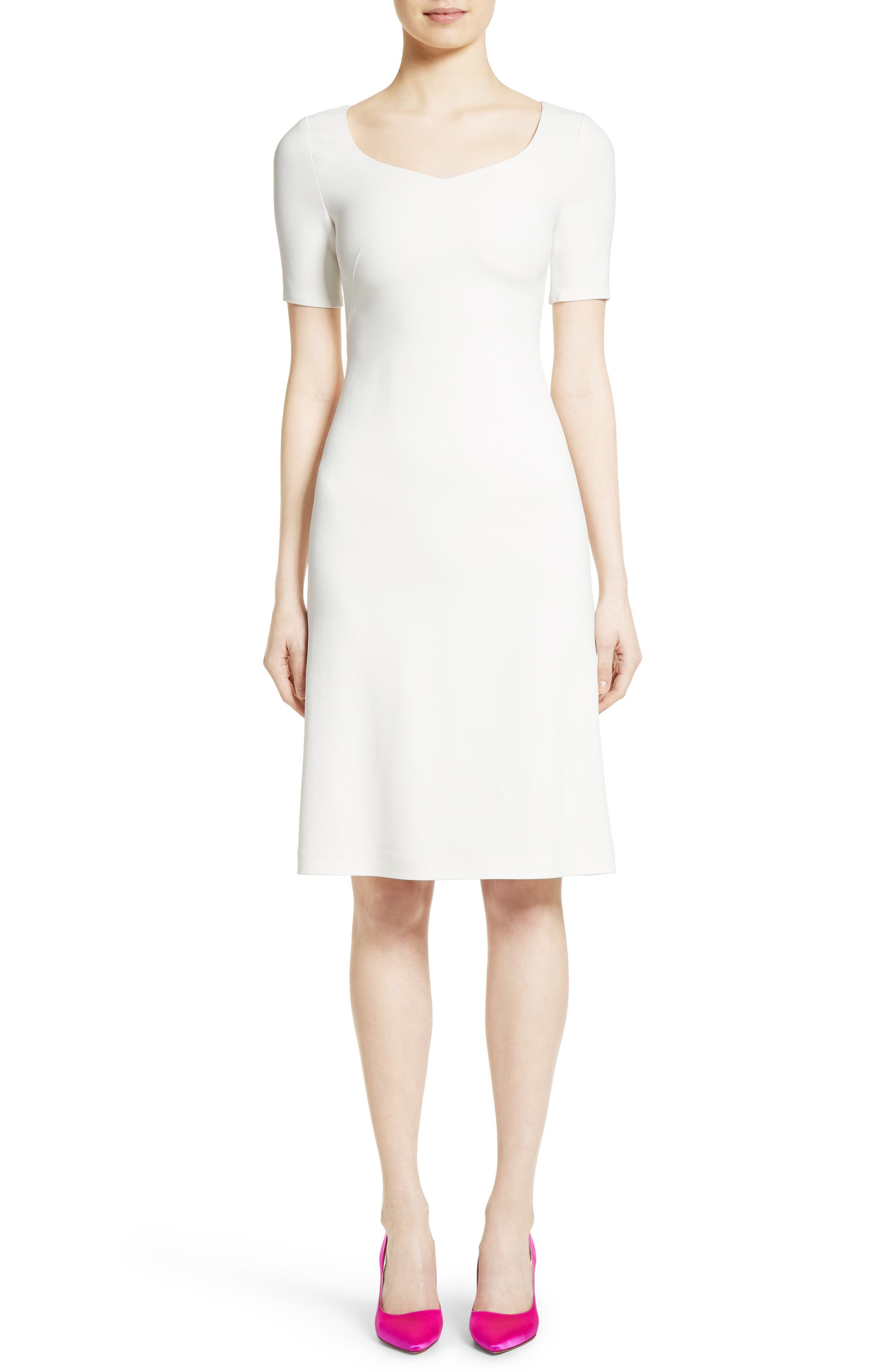 Stretch Cady Dress,                         Main,                         color, Ivory