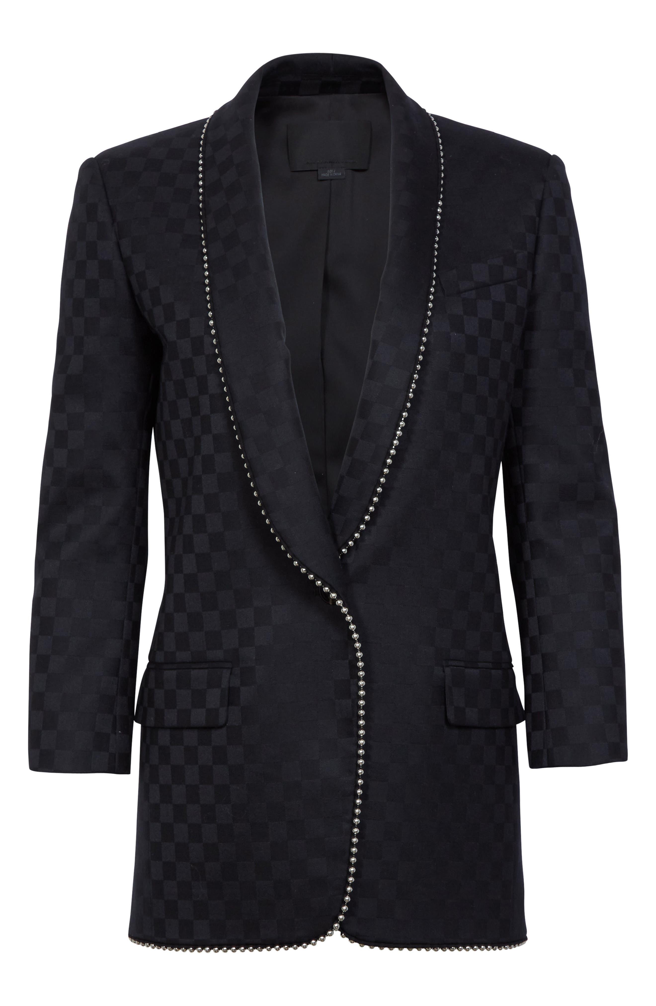 Alternate Image 4  - Alexander Wang Chain Trim Checkerboard Wool Blazer