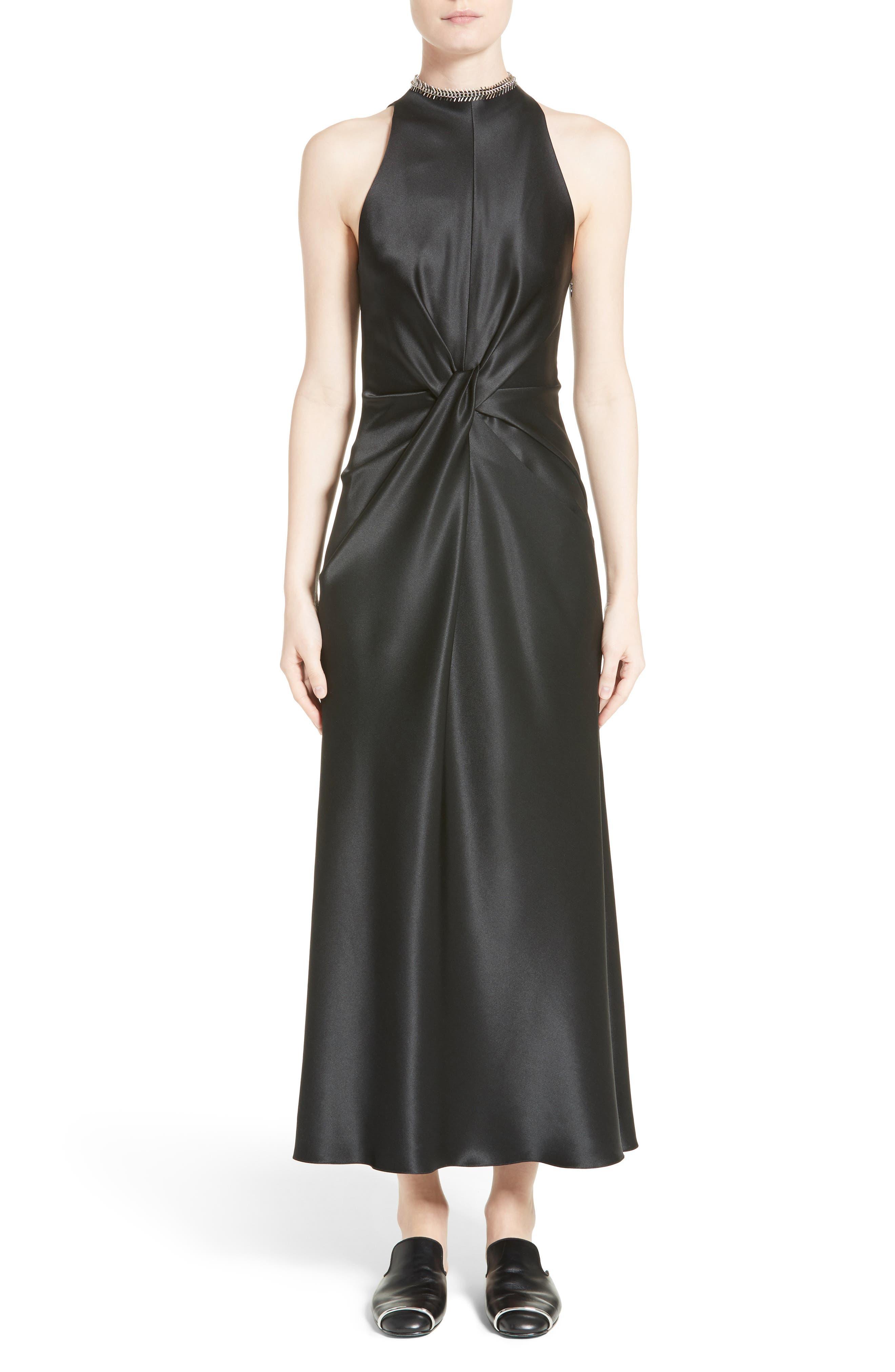 Fishbone Necklace Silk Satin Dress,                             Main thumbnail 1, color,                             Onyx