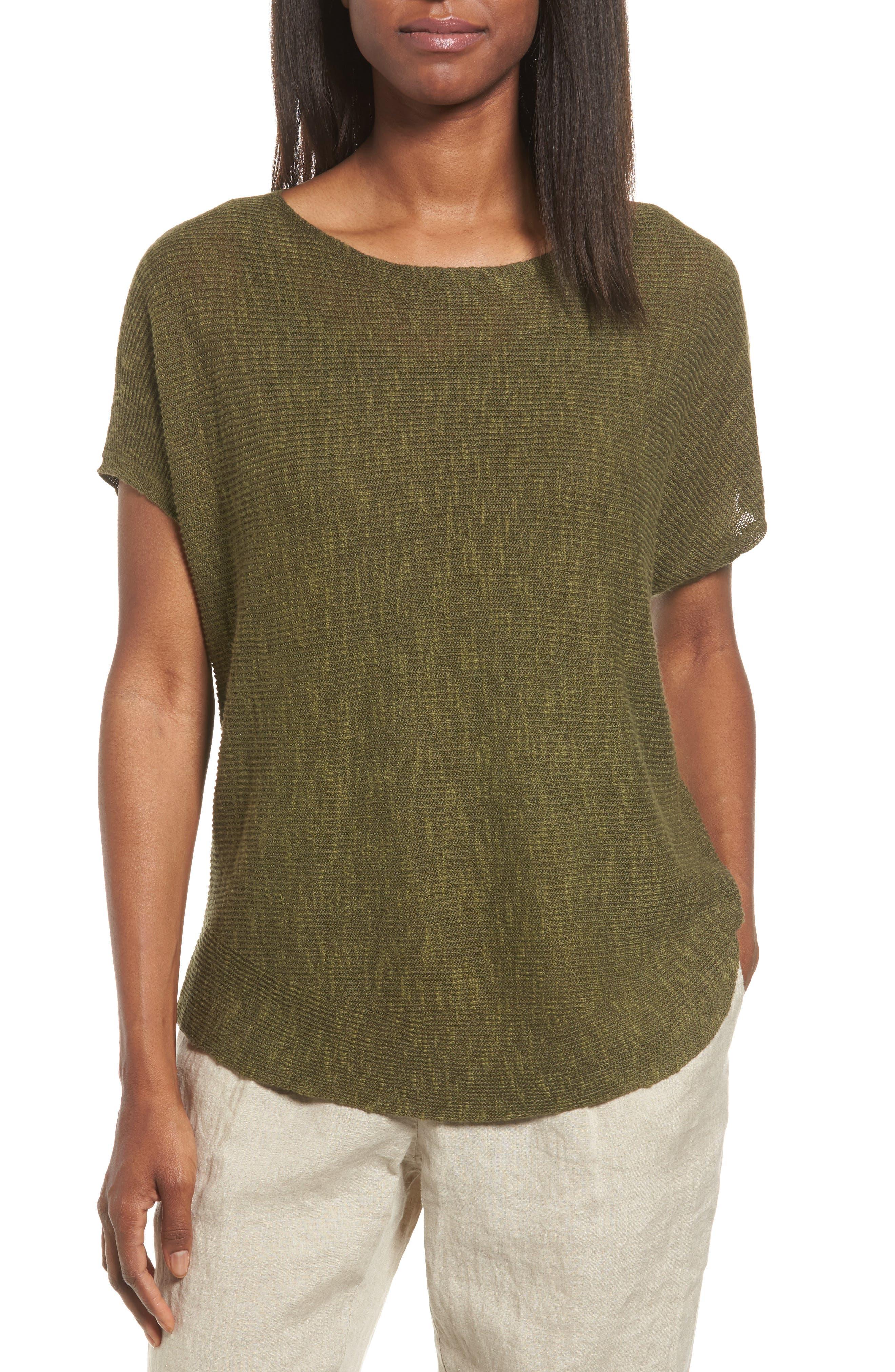 Organic Linen & Cotton Knit Top,                         Main,                         color, Olive