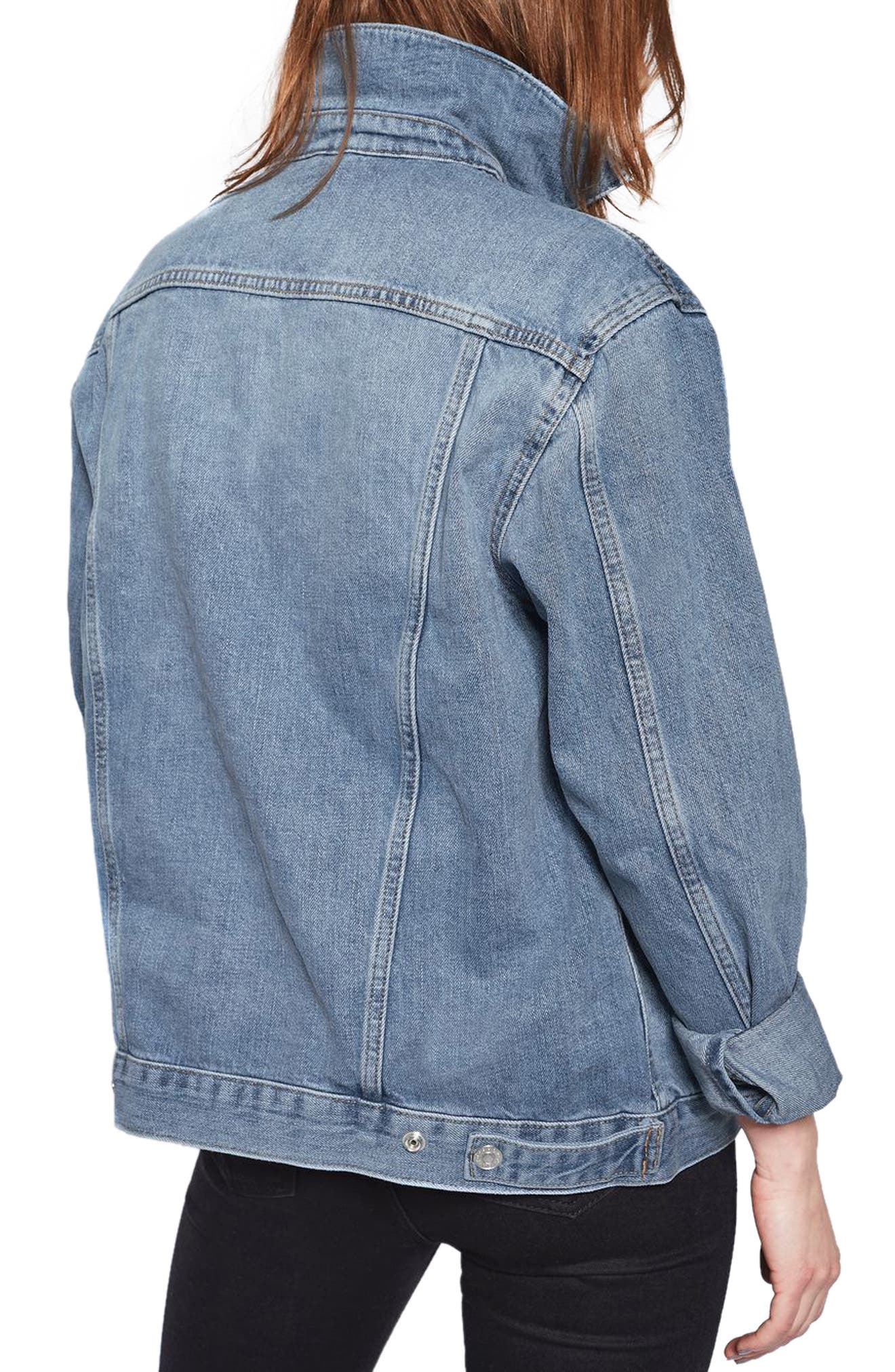 Oversize Denim Jacket,                             Alternate thumbnail 2, color,                             Mid Denim