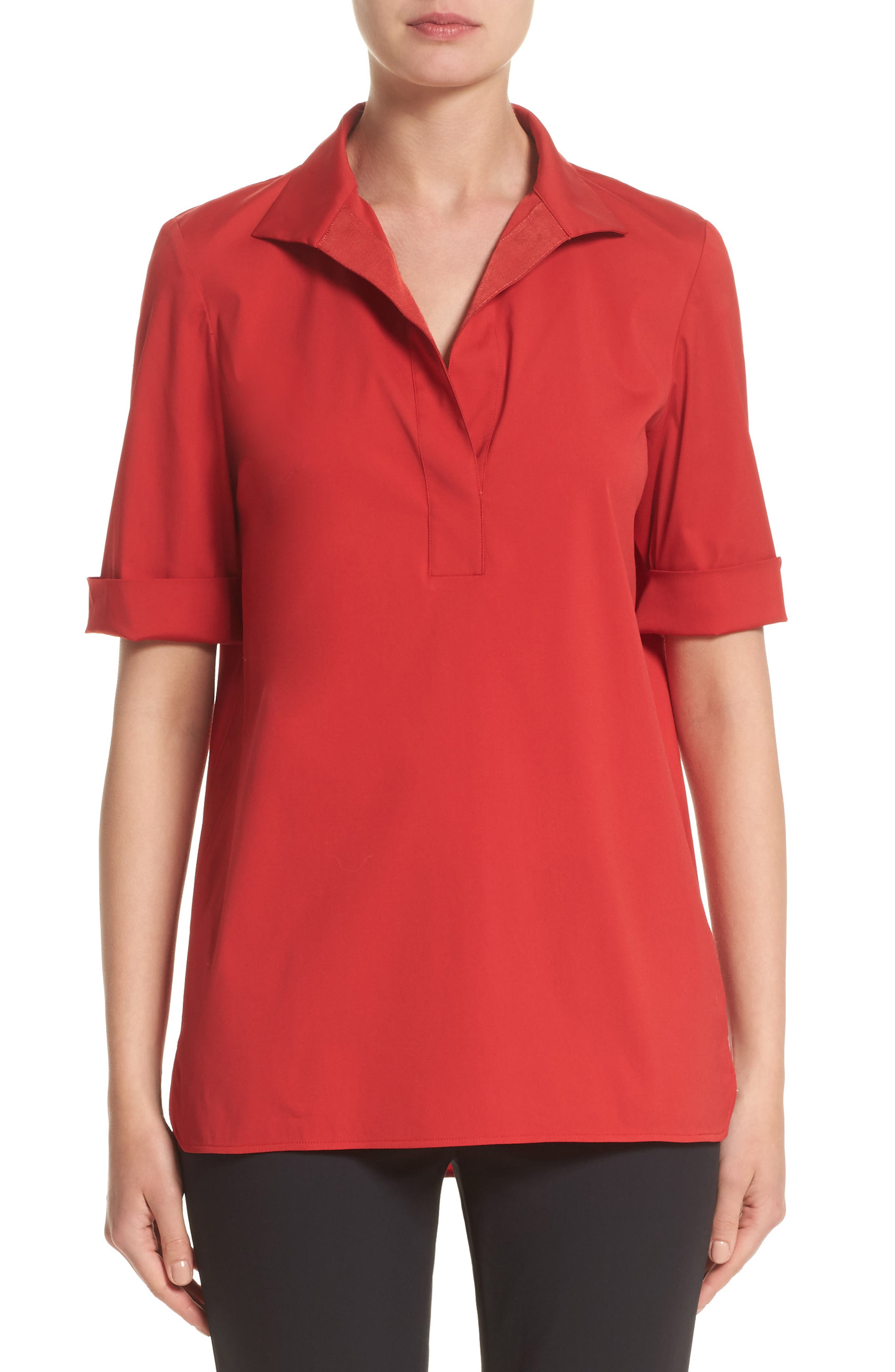 Daley High/Low Blouse,                         Main,                         color, Flame