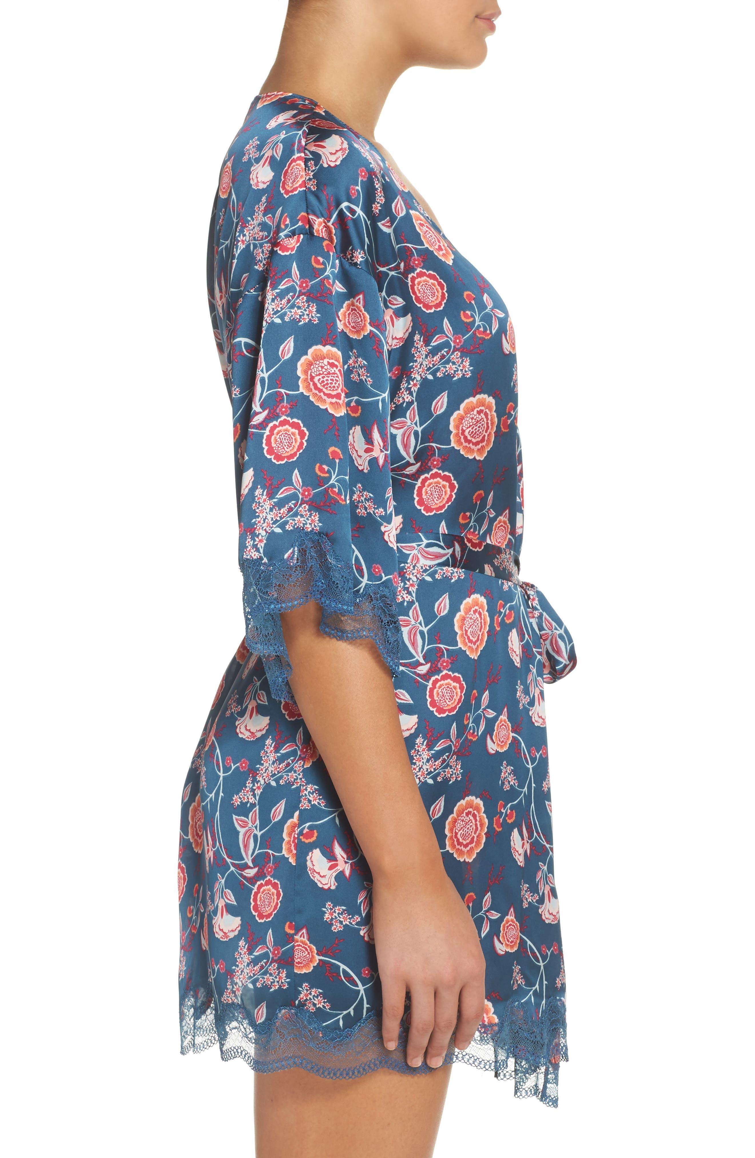 Floral Print Satin Kimono,                             Alternate thumbnail 3, color,                             Blue Ceramic Vintage Floral