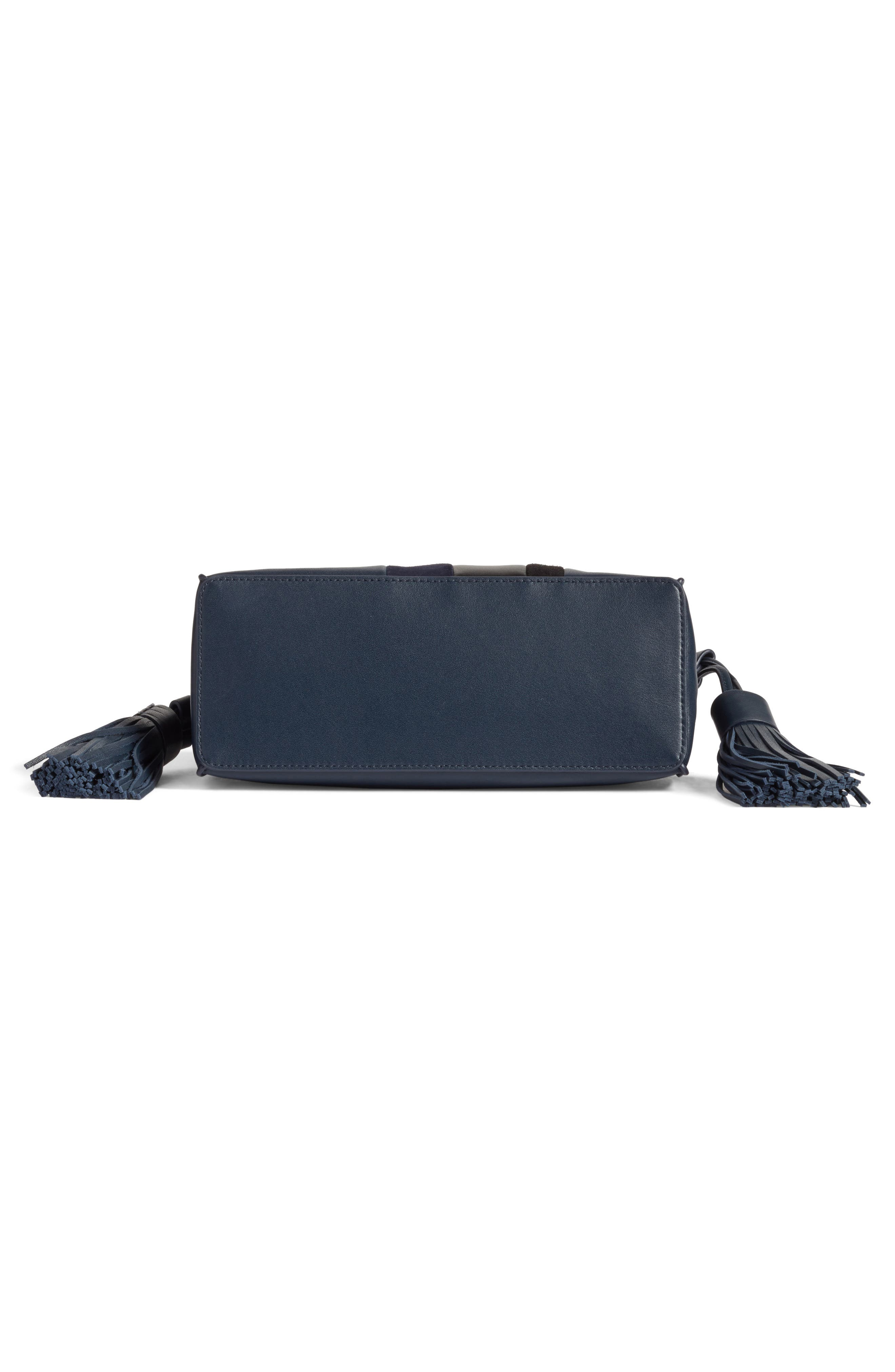 Casey Calfskin Leather & Suede Tassel Crossbody Bag,                             Alternate thumbnail 5, color,                             Marine Blue