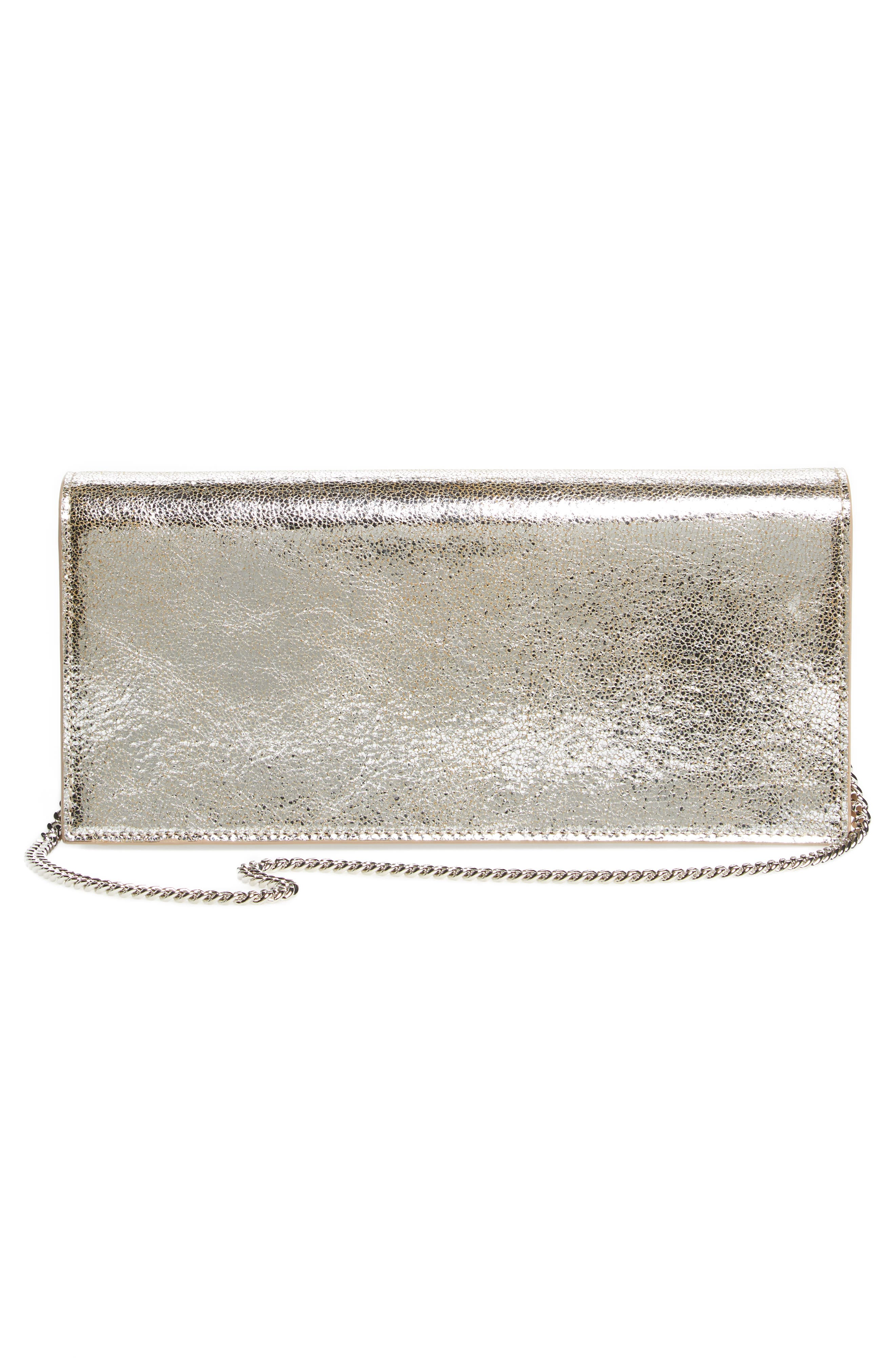 Fie Metallic Leather Clutch,                             Alternate thumbnail 2, color,                             Champagne