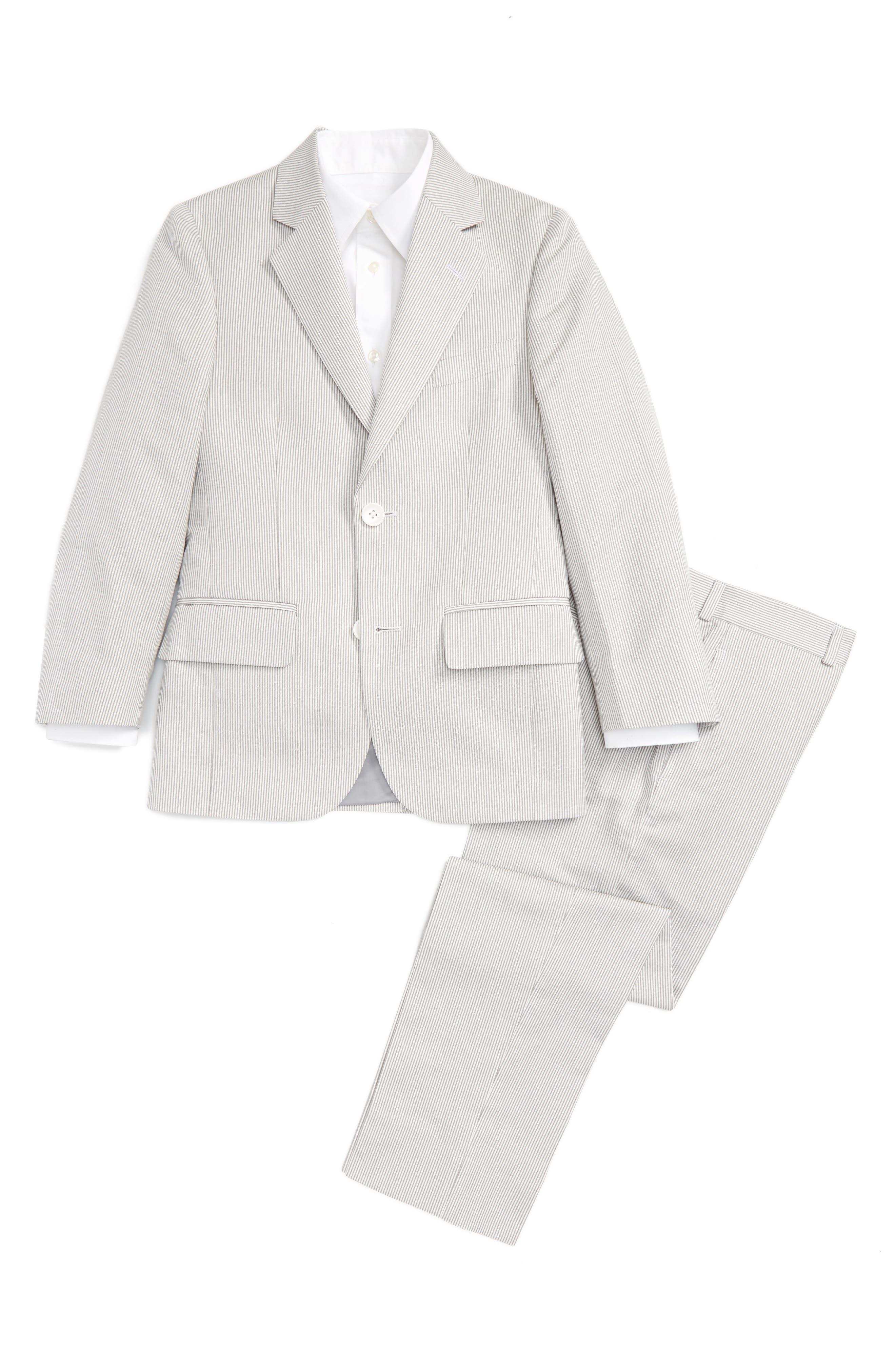 Alternate Image 1 Selected - JB Jr Stripe Cotton & Linen Sport Coat (Big Boys)