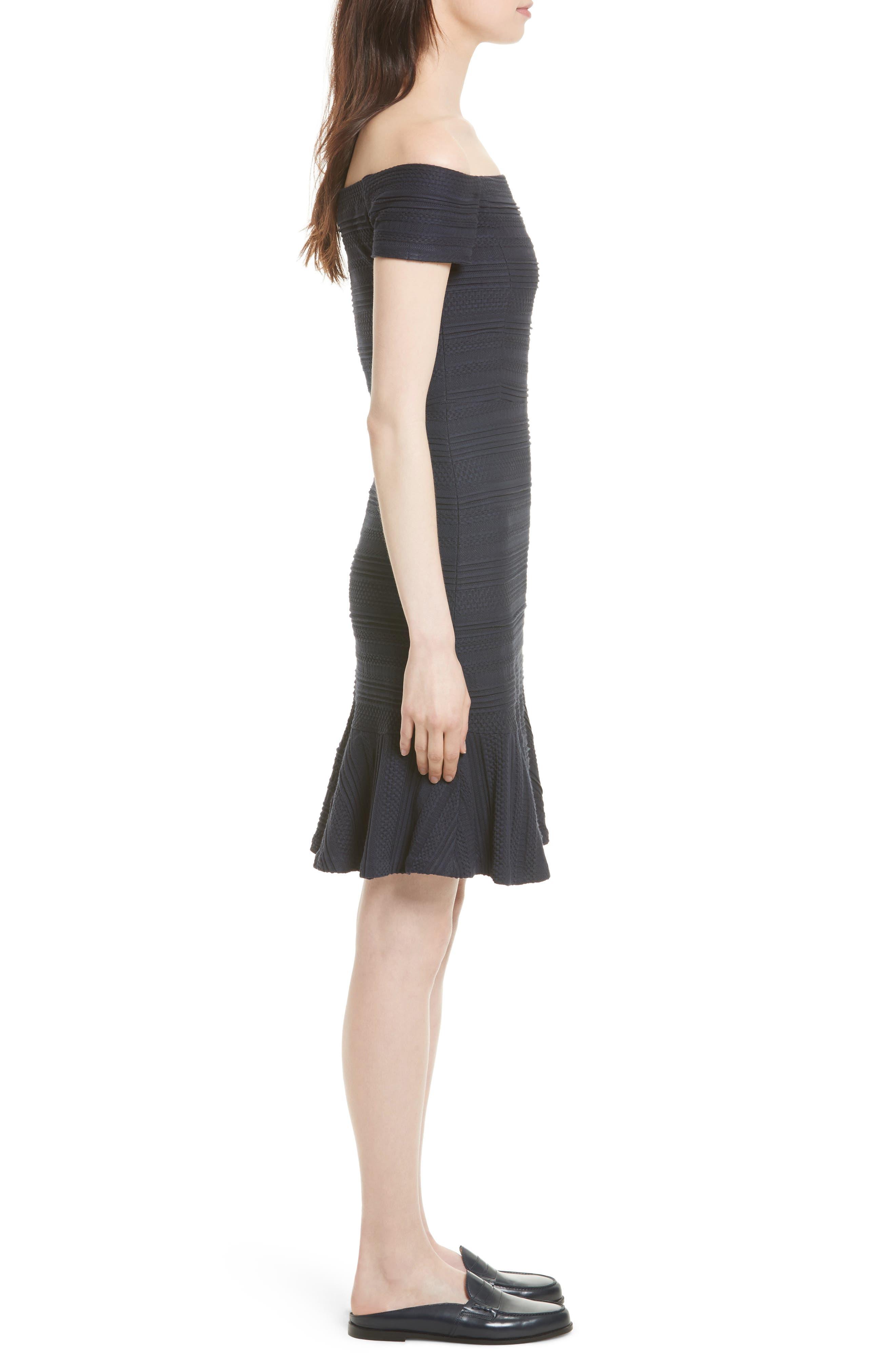 Off the Shoulder Textured Knit Dress,                             Alternate thumbnail 3, color,                             Navy