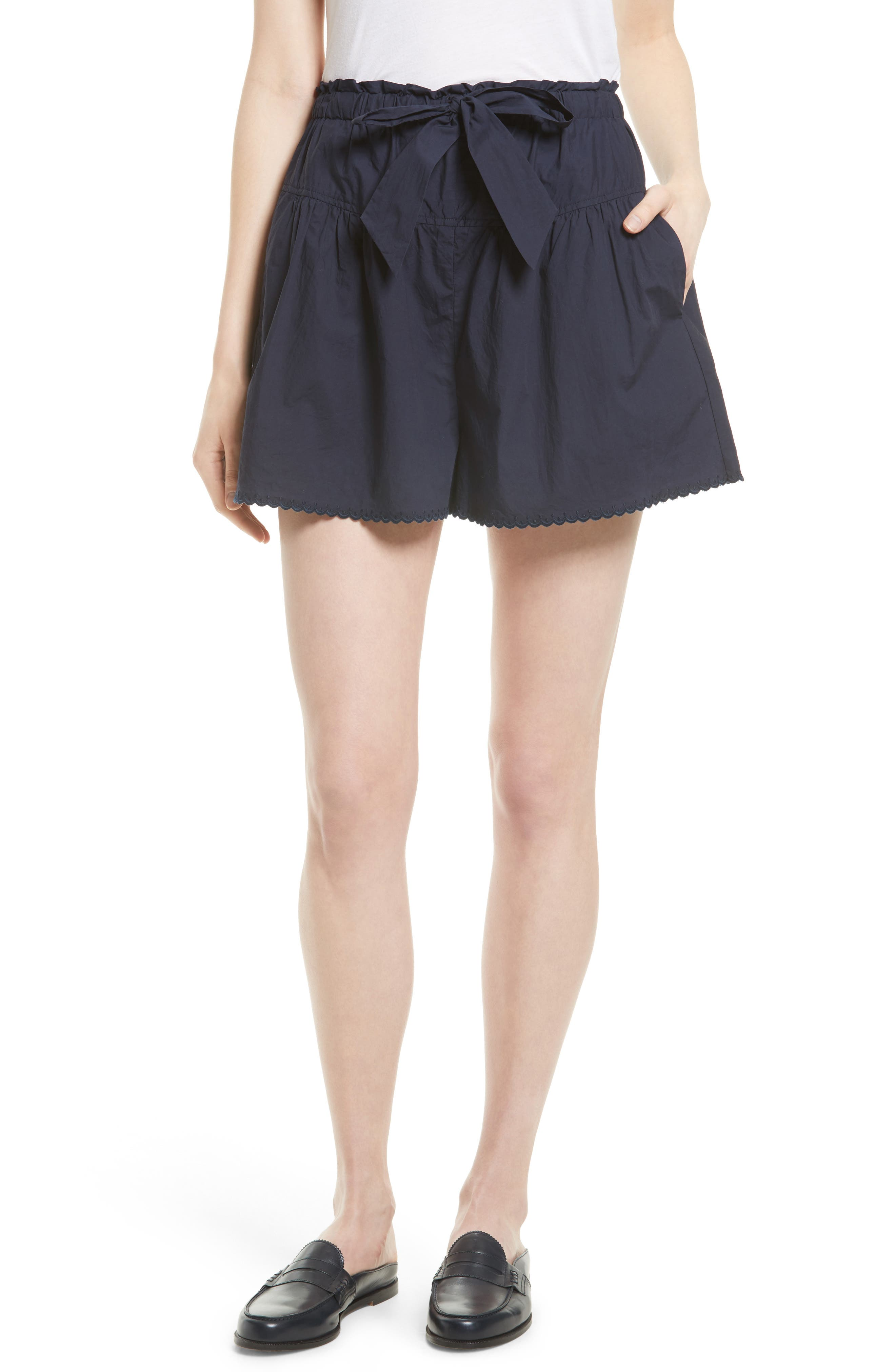 LA VIE REBECCA TAYLOR Washed Poplin Tie Waist Shorts