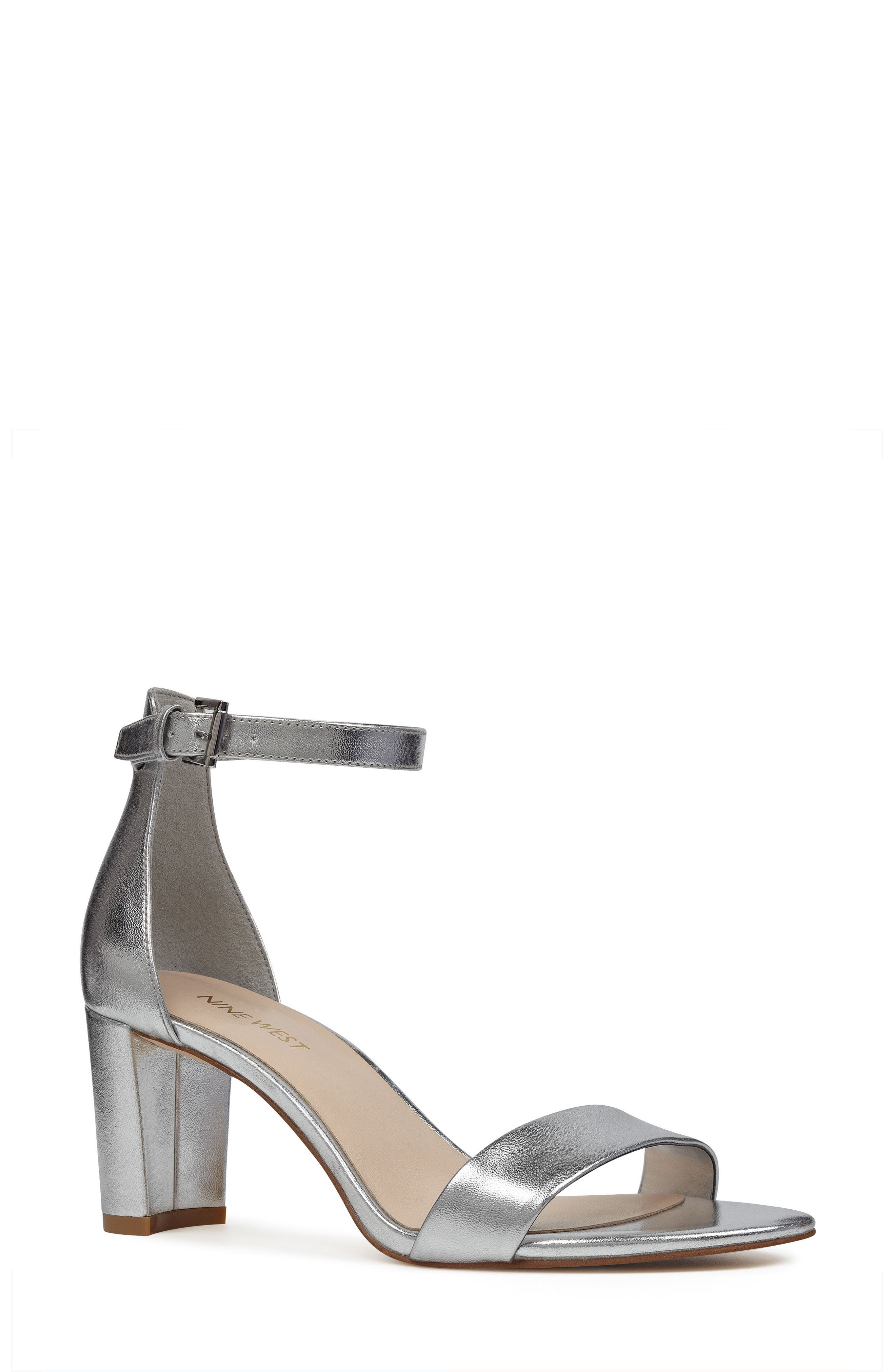 Pruce Ankle Strap Sandal,                             Main thumbnail 1, color,                             Silver Fabric