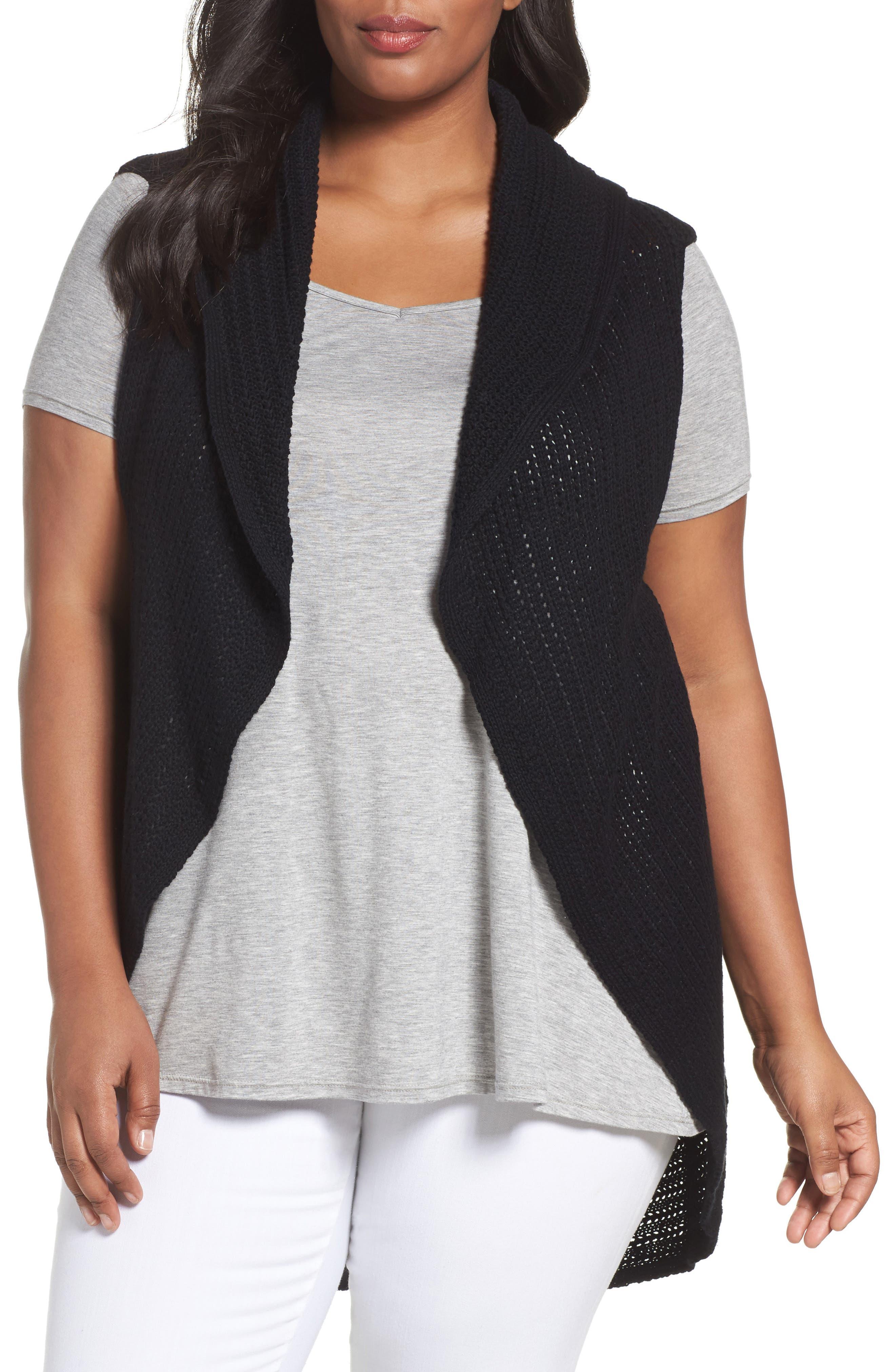 Foxcroft Cotton Knit Circle Vest (Plus Size)