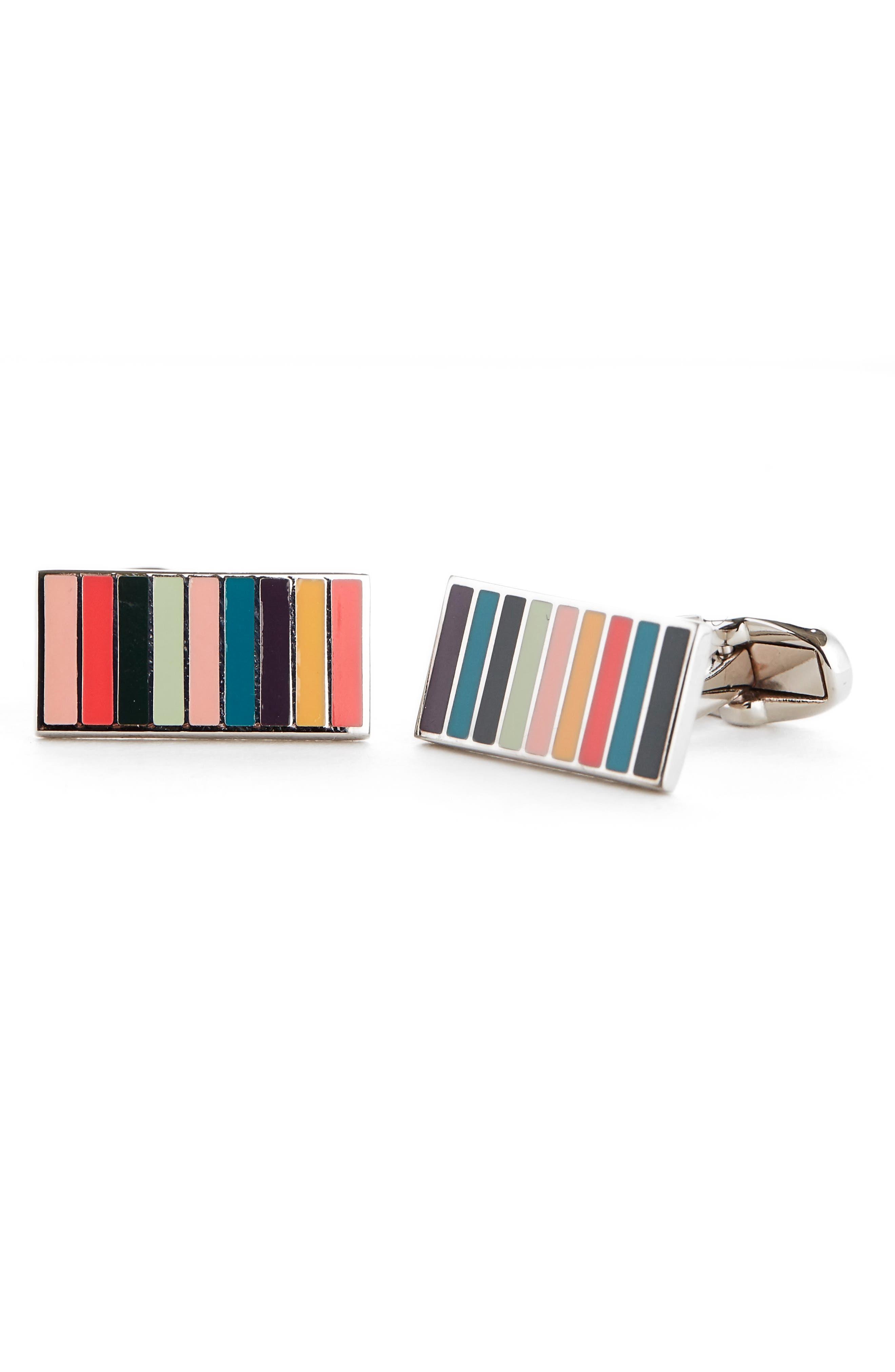 Mini Stripe Cuff Links,                         Main,                         color, Metallic Silver