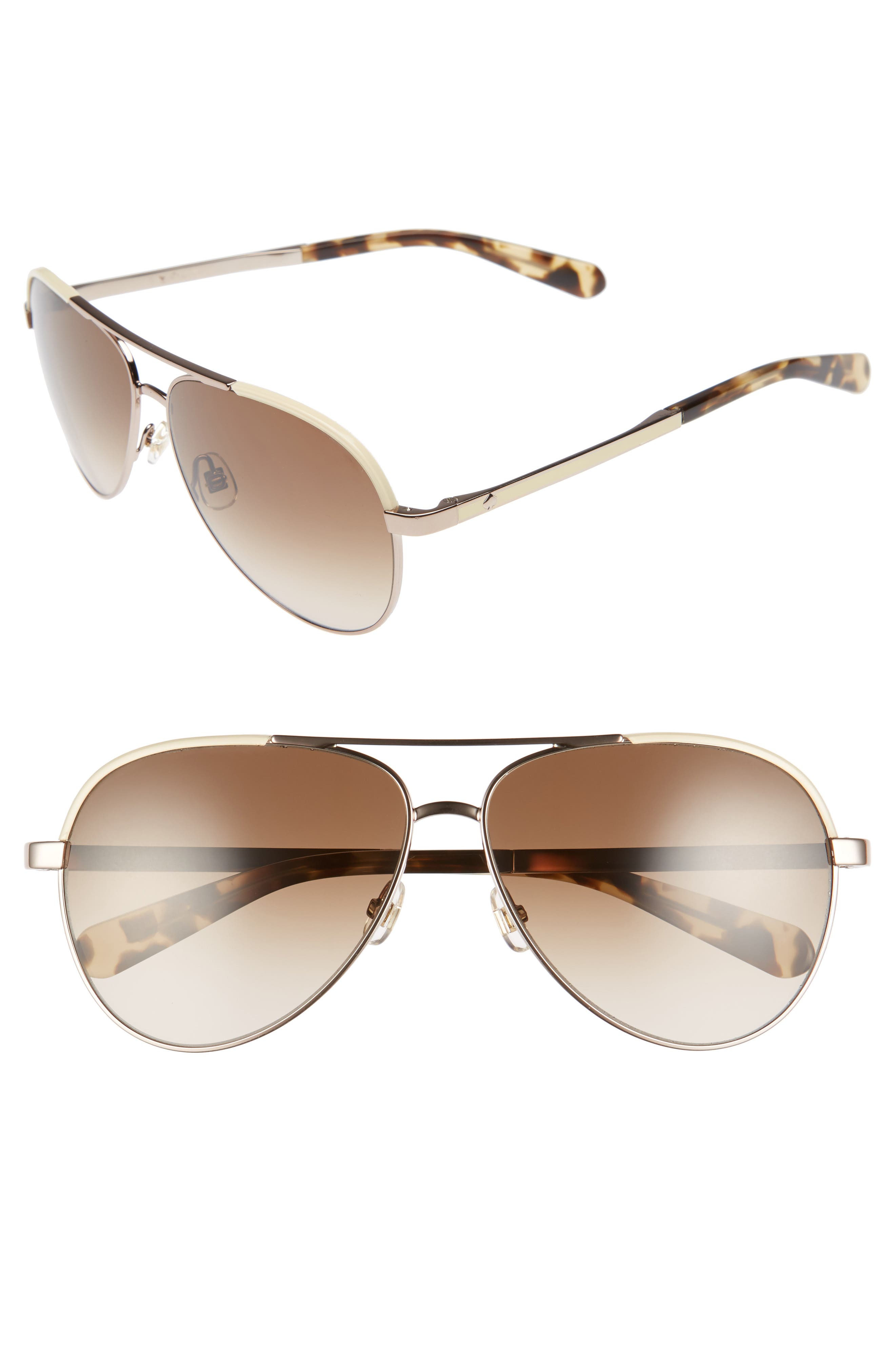 kate spade new york amarissa 59mm polarized aviator sunglasses